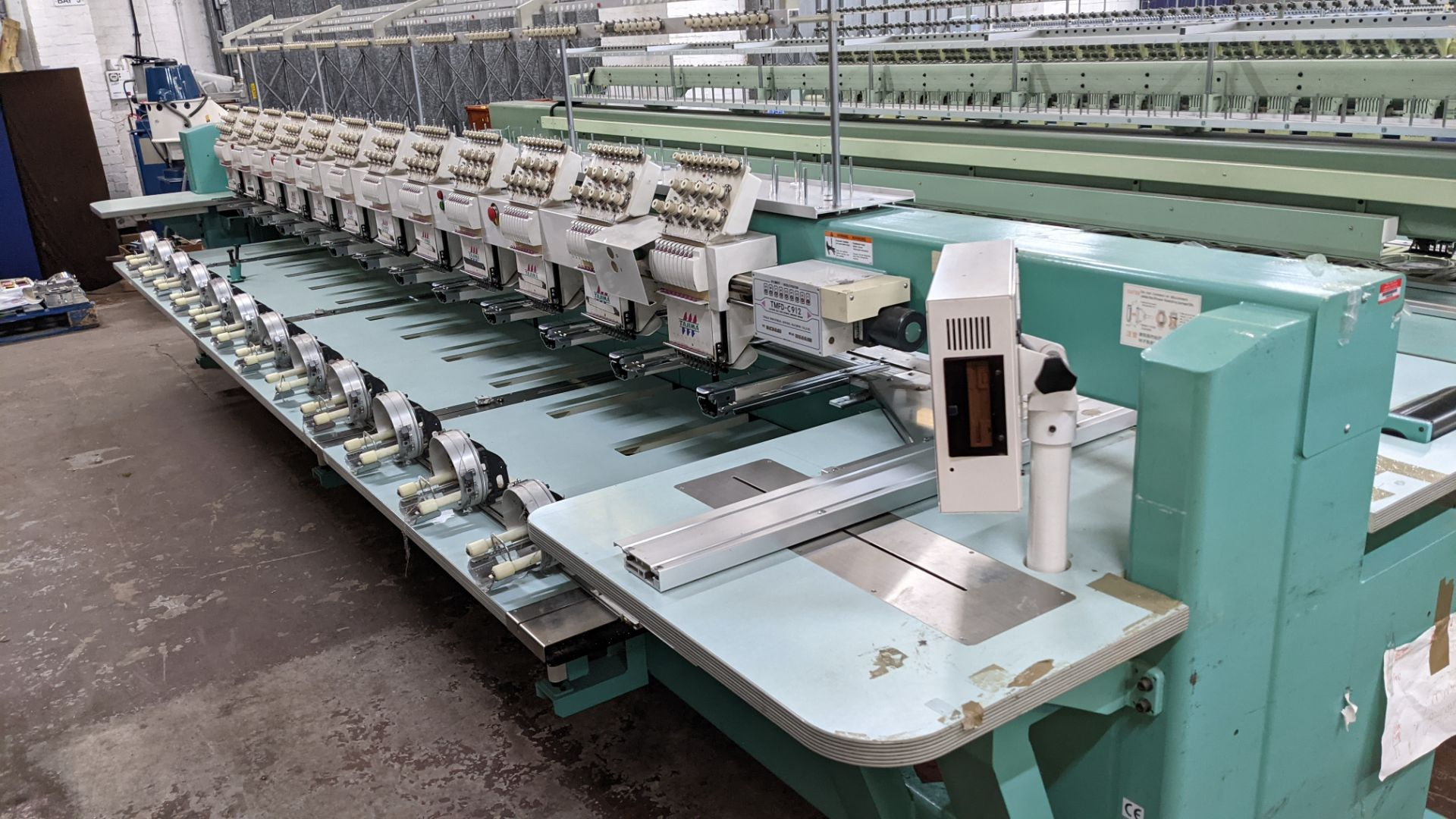 Tokai Tajima model TMFD-C912 electronic 12 head embroidery machine, type 2-2FX - Image 11 of 27