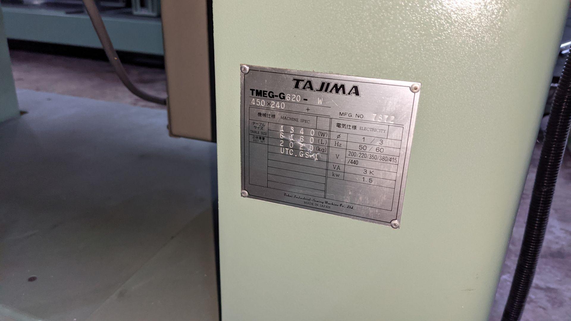 Tokai Tajima electronic 20 head automatic embroidery machine model TMEG-G620, manufacturing number 7 - Image 5 of 19