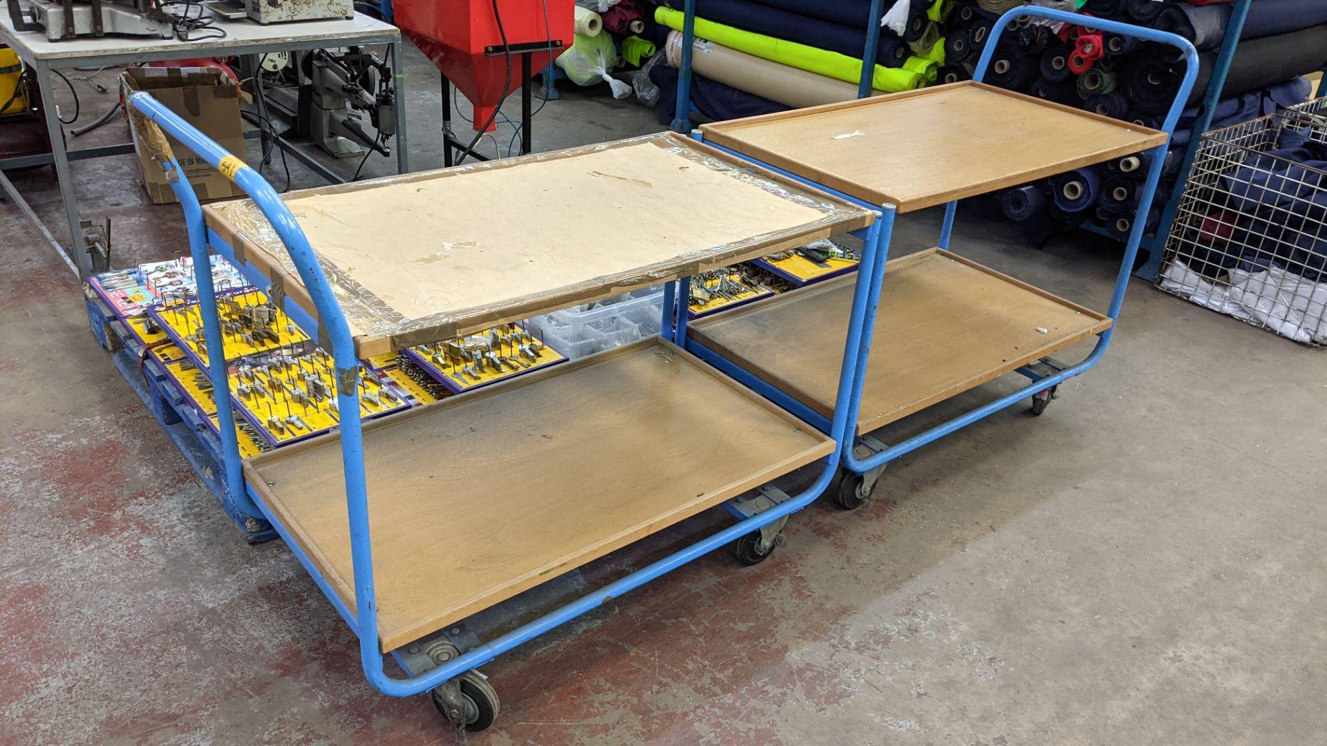 2 mobile twin shelf trolleys with lockable wheels - Image 5 of 7