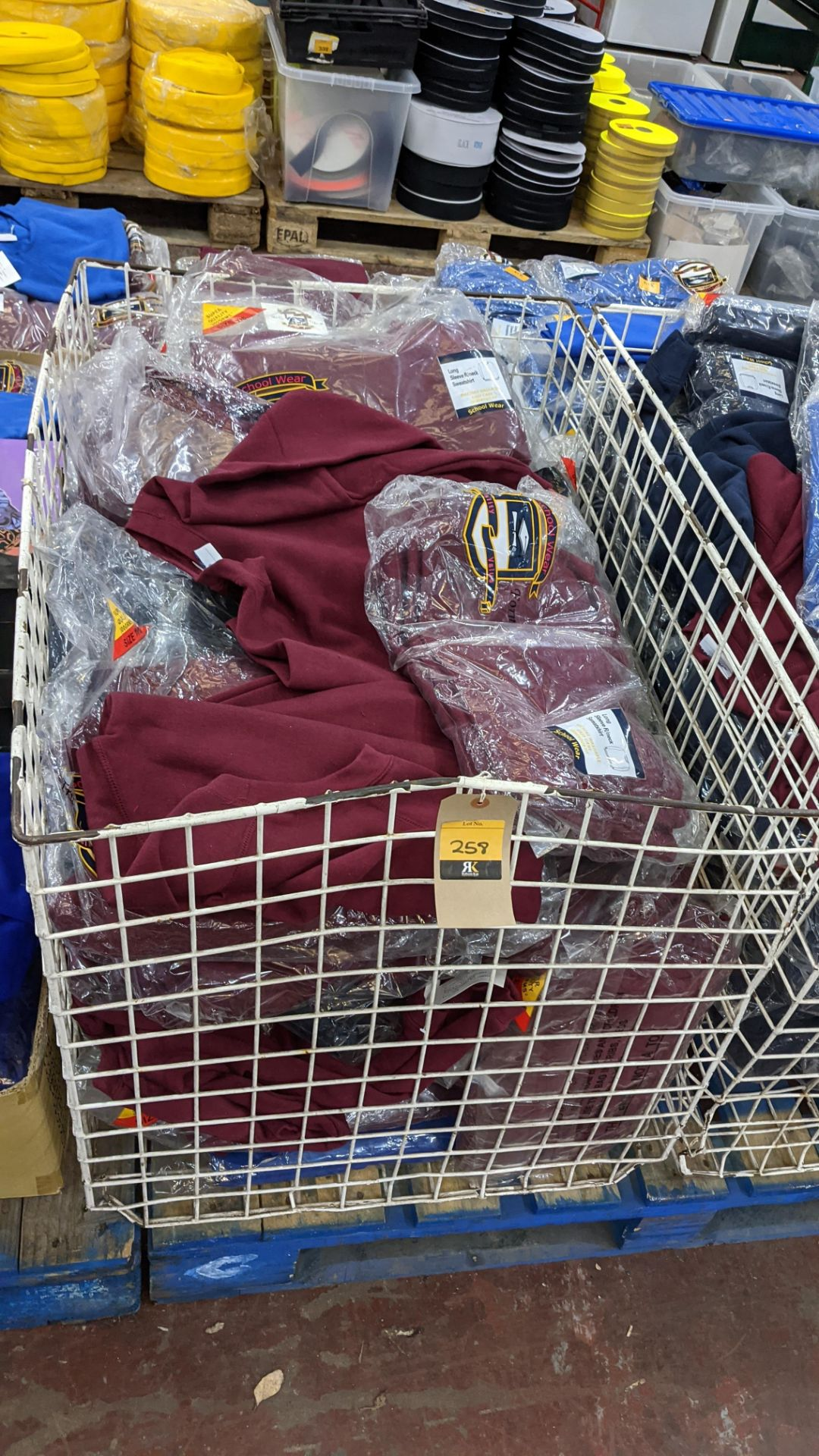 Large quantity of children's burgundy sweatshirts - the contents of 1 large cage. NB cage excluded - Image 2 of 6