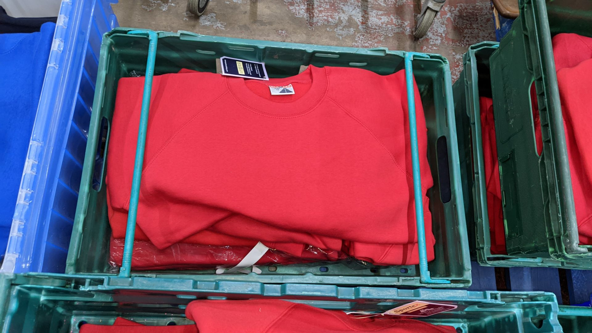 Approx 25 off Sportex children's assorted sweatshirts - the contents of 2 crates. NB crates exclude - Image 4 of 4
