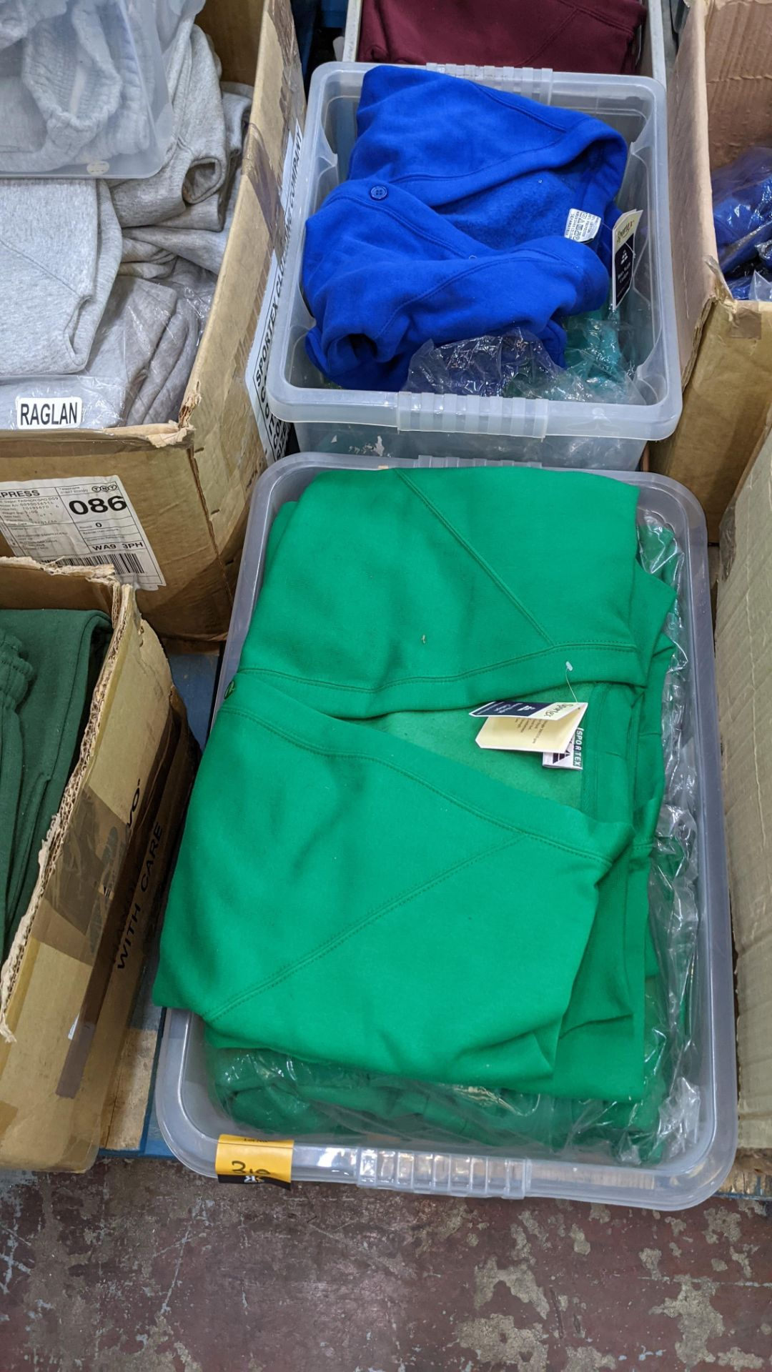 The contents of 2 crates of green & blue button up children's sweat tops & similar. NB crates exclu - Image 5 of 5
