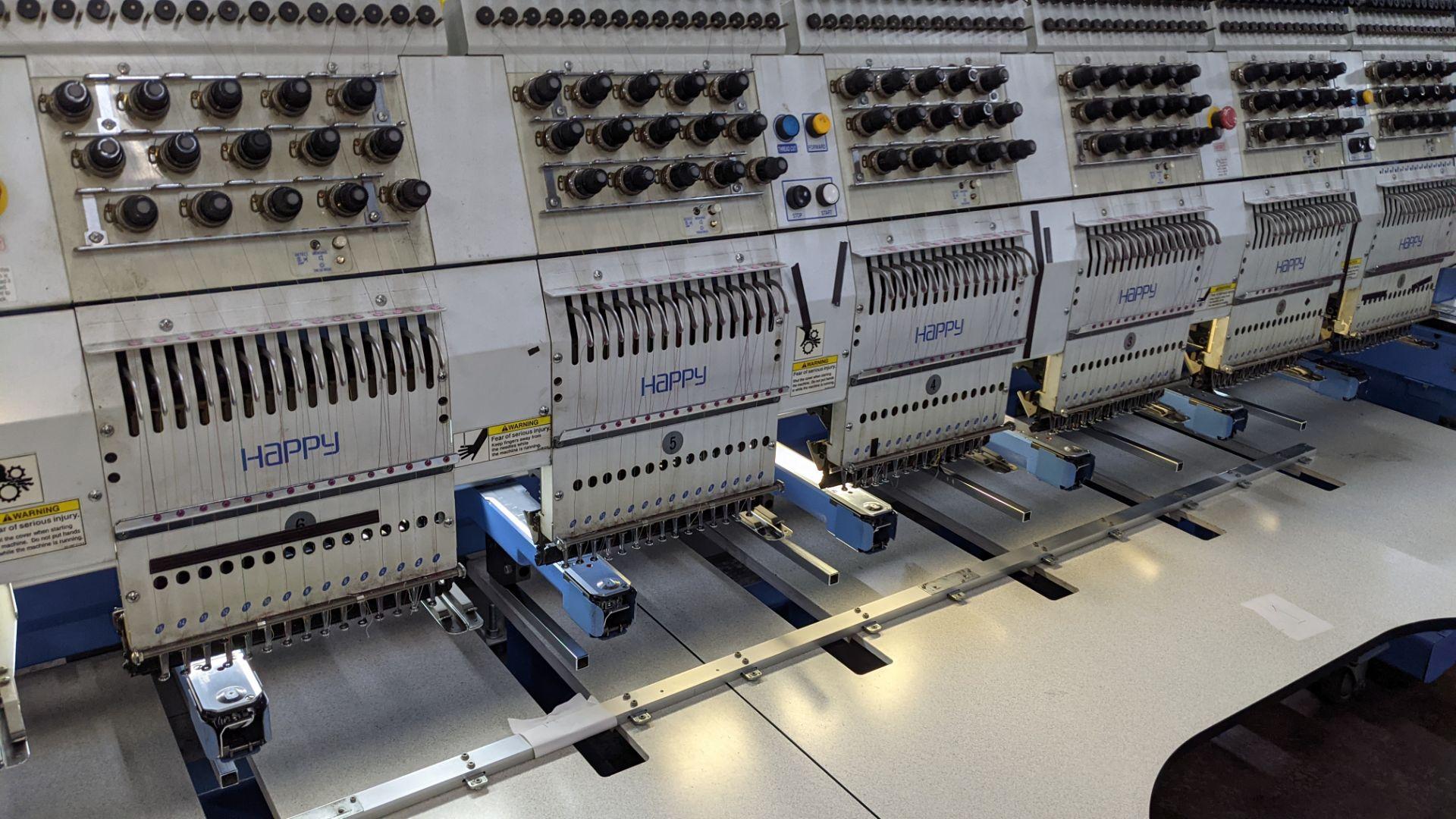 Happy 8 head embroidery machine, model HCG-1508B-45TTC, 15 needles per head, including frames & othe - Image 8 of 32