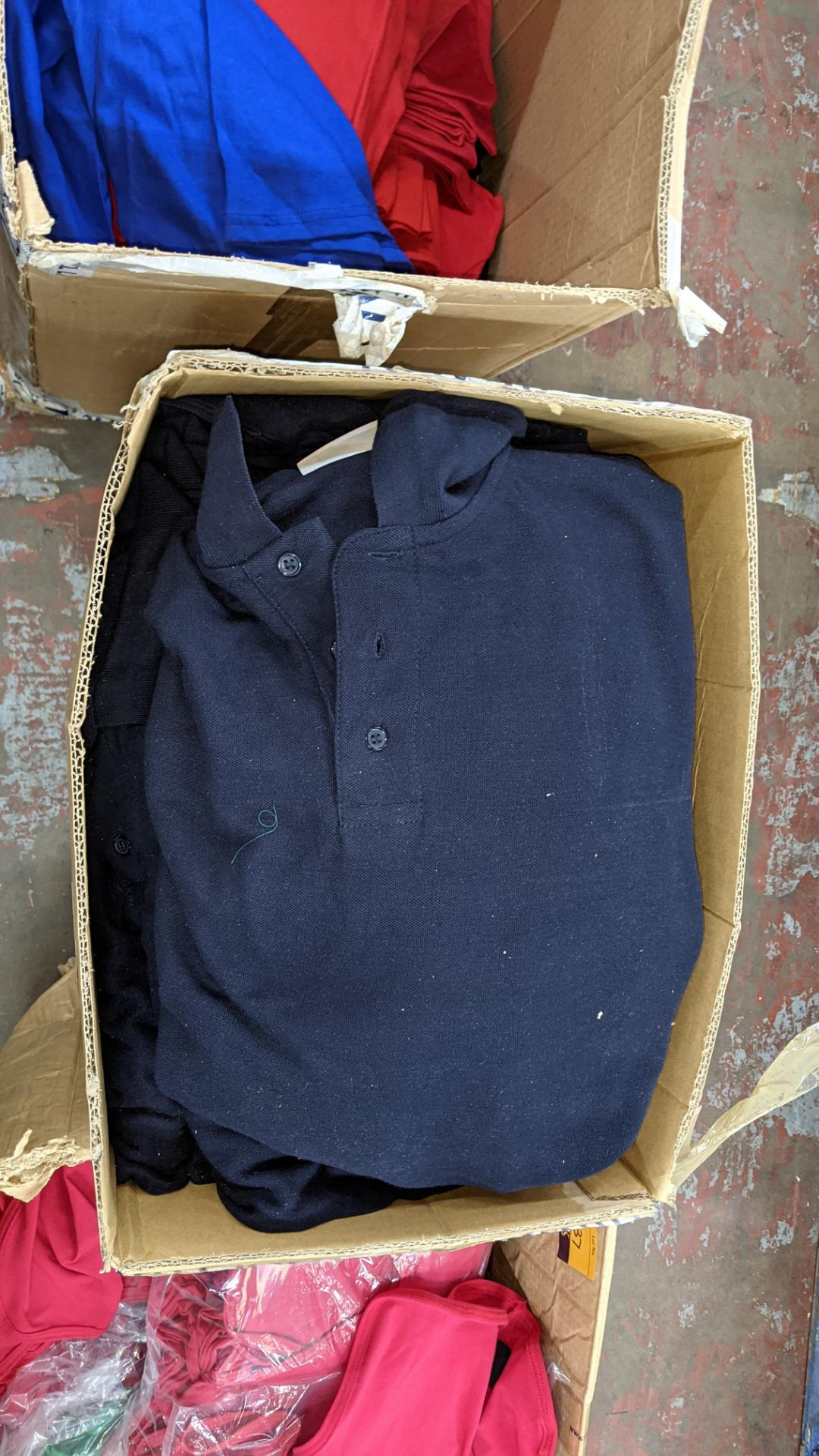 Quantity of navy polo shirts in assorted styles - 1 large box - Image 3 of 5