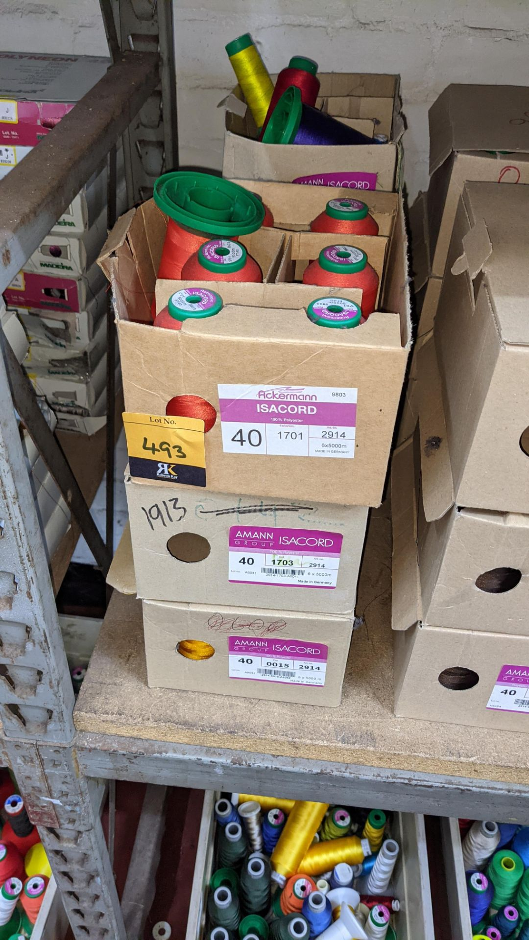 6 boxes of Ackermann & Amann Group Isacord polyester No. 40 embroidery thread