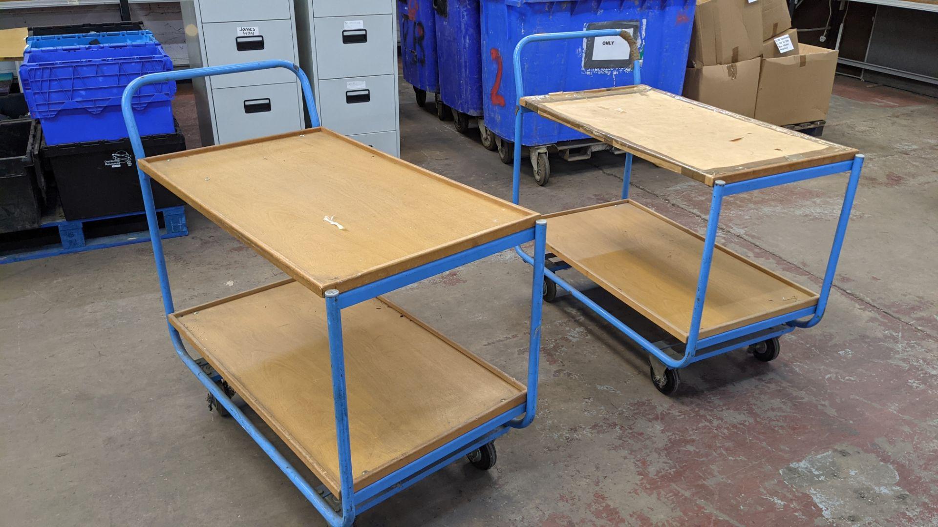 2 mobile twin shelf trolleys with lockable wheels - Image 7 of 7