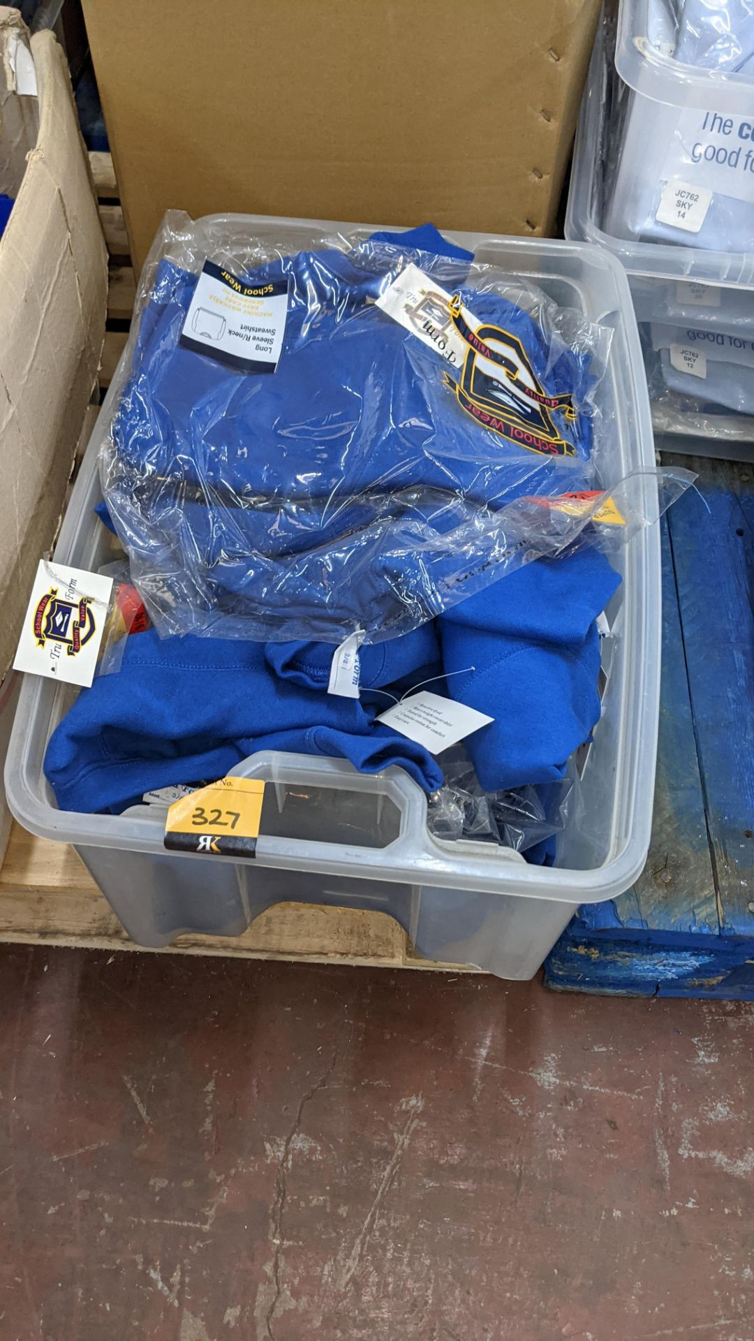 Approx 19 off blue children's sweatshirts - the contents of 1 crate. NB crate excluded