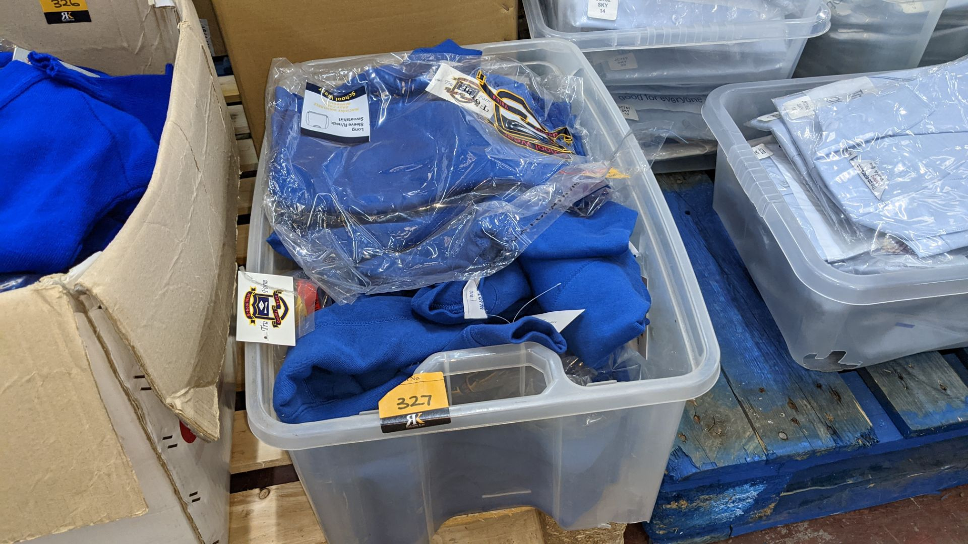 Approx 19 off blue children's sweatshirts - the contents of 1 crate. NB crate excluded - Image 2 of 4