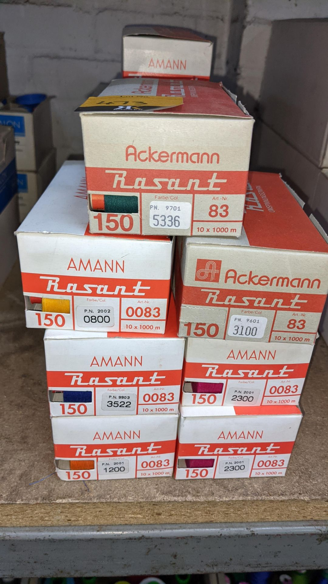 14 boxes of Ackermann Rasant spun polyester/cotton embroidery thread - Image 3 of 6
