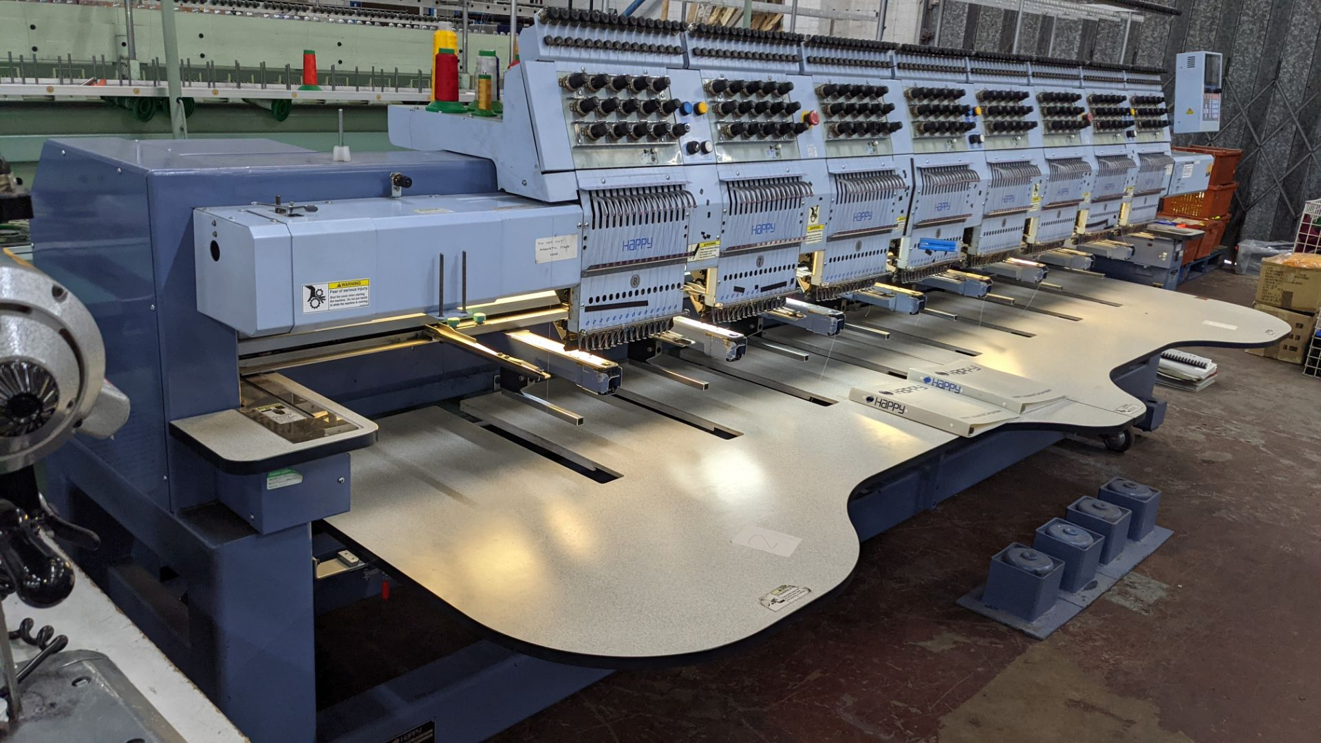 Happy 8 head embroidery machine, model HCG-1508-45TTC, 15 needles per head, including frames & other - Image 10 of 27