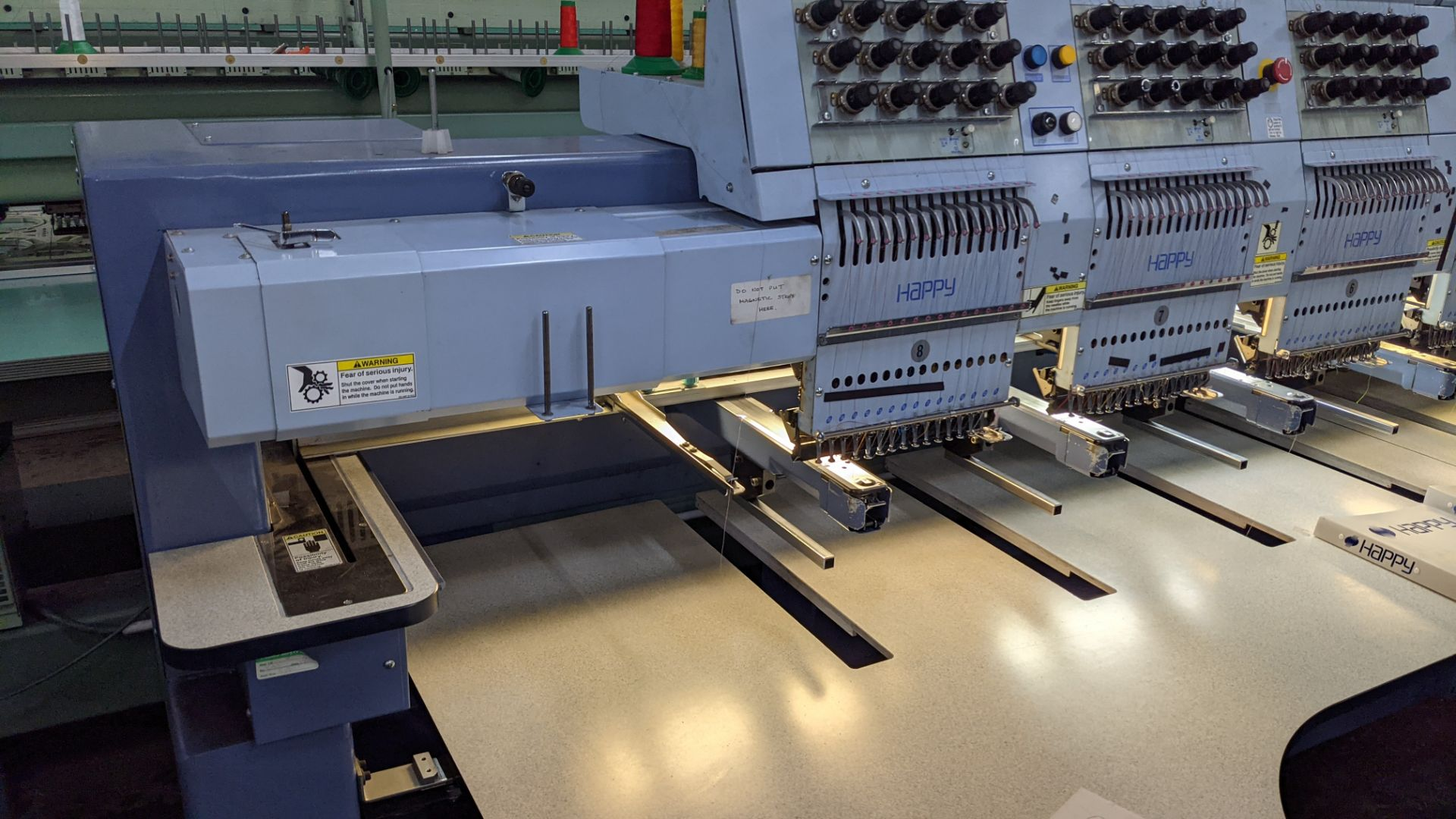 Happy 8 head embroidery machine, model HCG-1508-45TTC, 15 needles per head, including frames & other - Image 16 of 27
