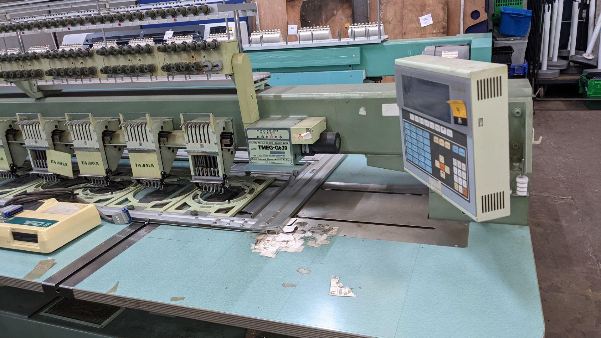 Tokai Tajima electronic 20 head automatic embroidery machine model TMEG-G620, manufacturing number 7 - Image 3 of 19