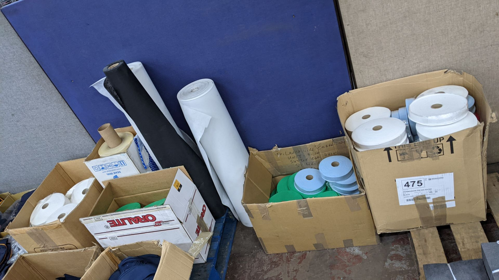 """Quantity of assorted """"tape"""" & other fabric consisting of 4 boxes & their contents of rolls of fabric - Image 2 of 8"""