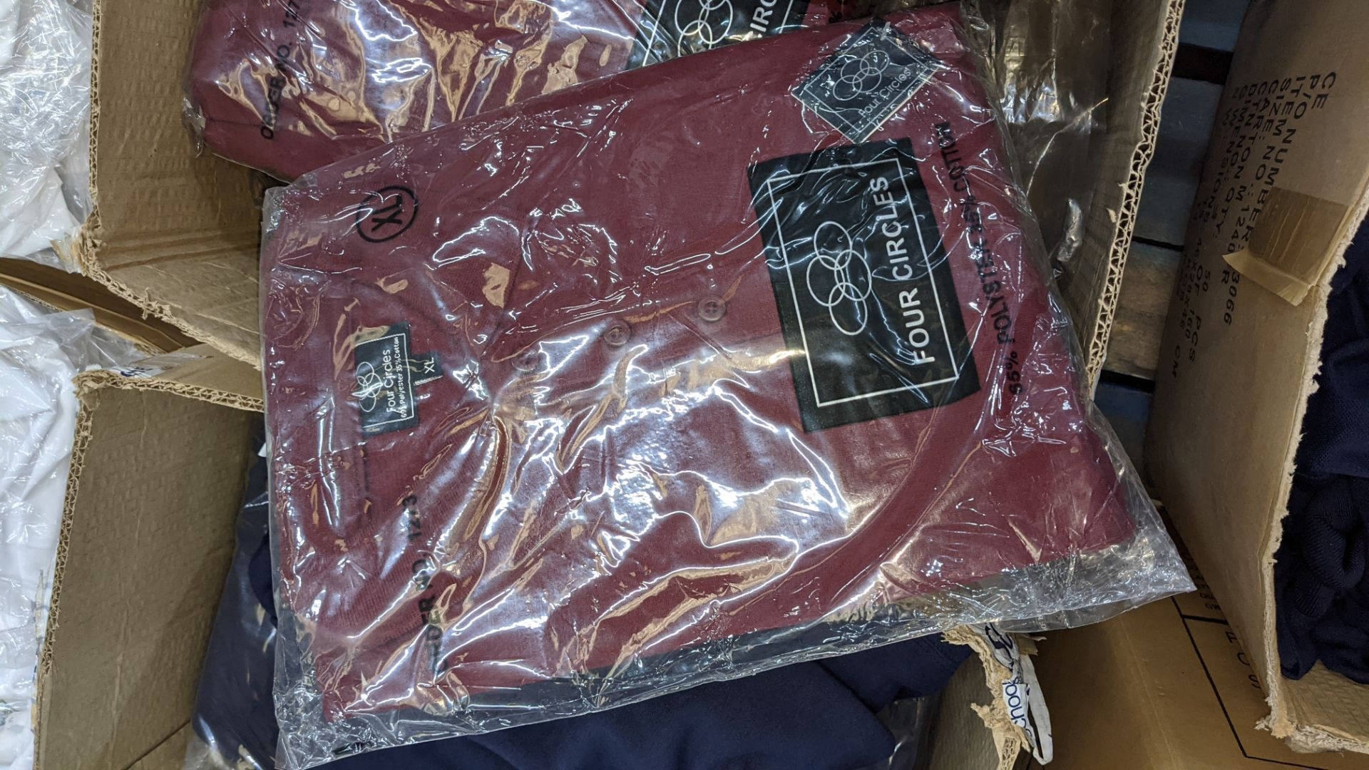 Approx 17 off assorted polo shirts by Four Circles in blue, burgundy & grey - 1 large box - Image 4 of 5