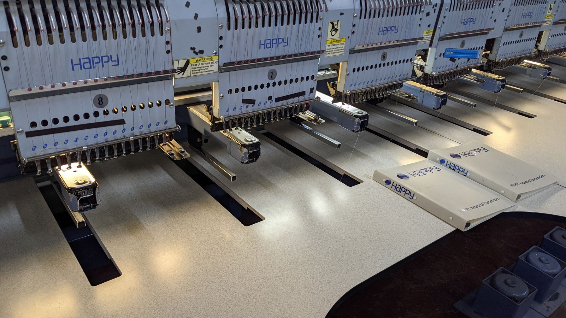 Happy 8 head embroidery machine, model HCG-1508-45TTC, 15 needles per head, including frames & other - Image 13 of 27