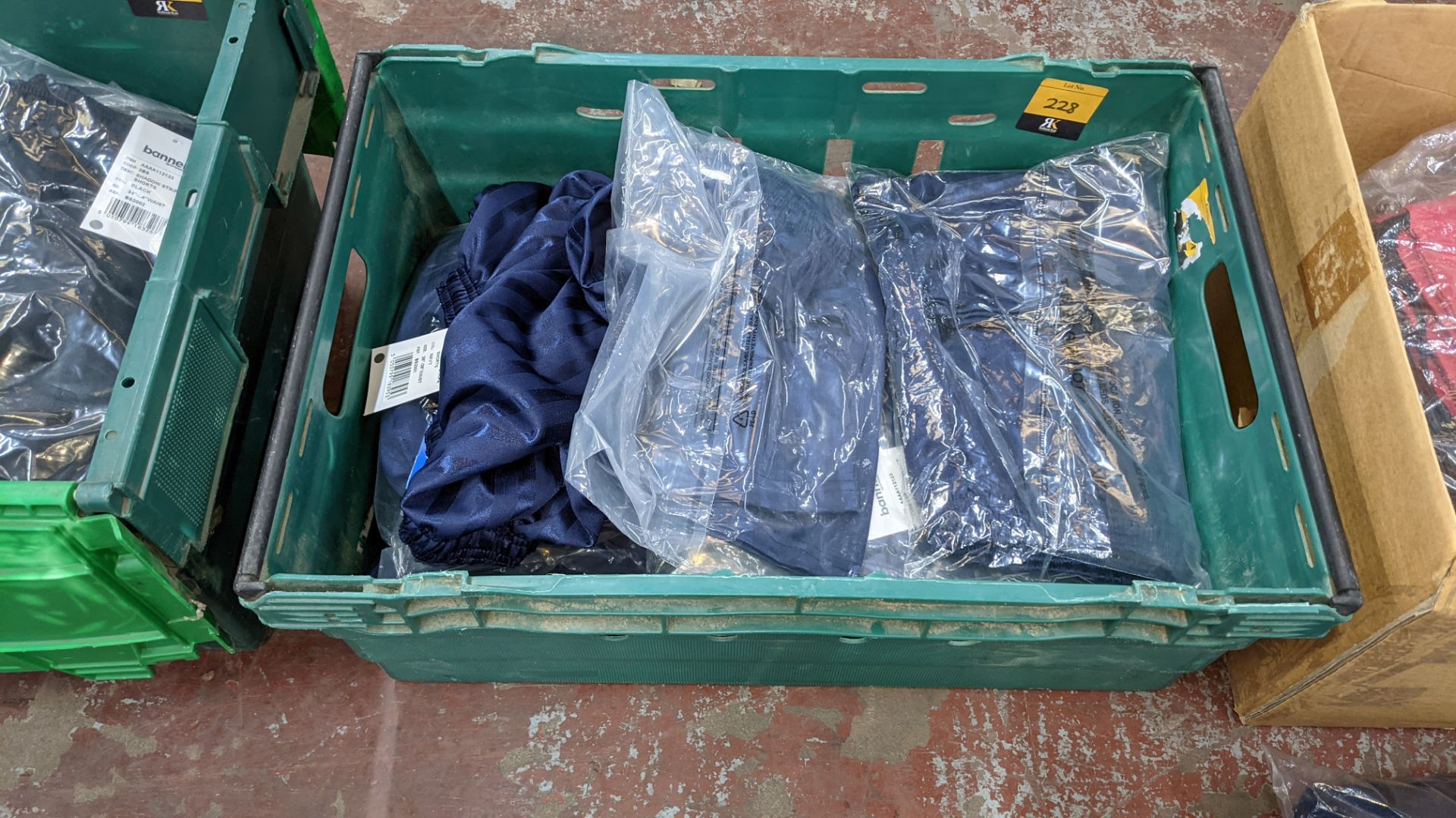 Approx 20 off Banner Sportswear navy children's shorts - the contents of 1 crate. NB crates exclude