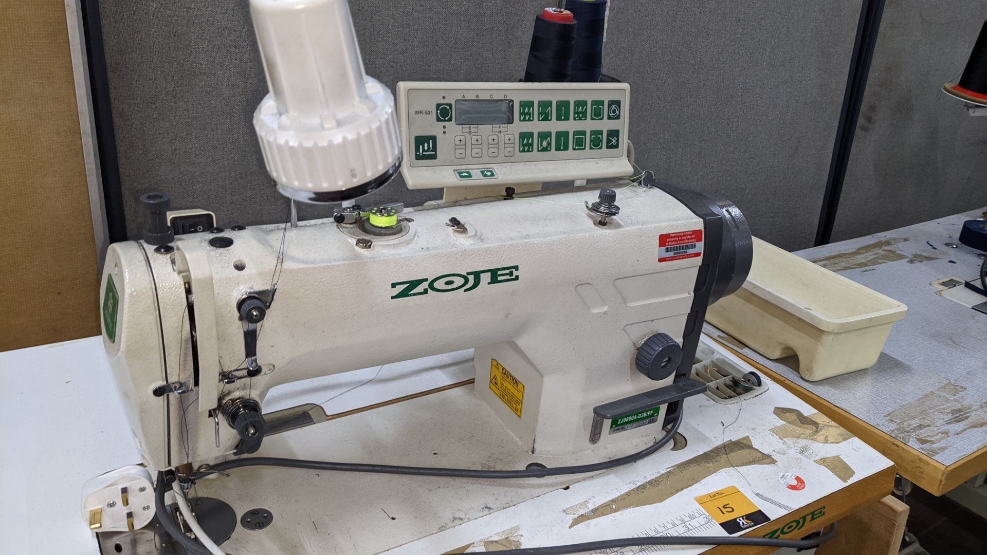 Zoje model ZJ9800A-D3B/PF lockstitch sewing machine with model WR-501 digital controller - Image 6 of 14