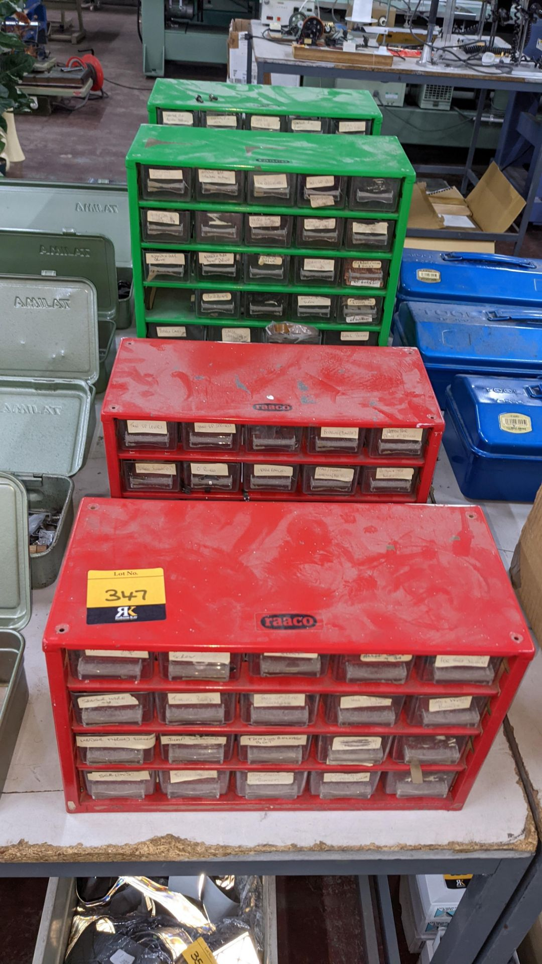 4 off mini cabinets & their contents of machinery parts & spares - Image 2 of 12