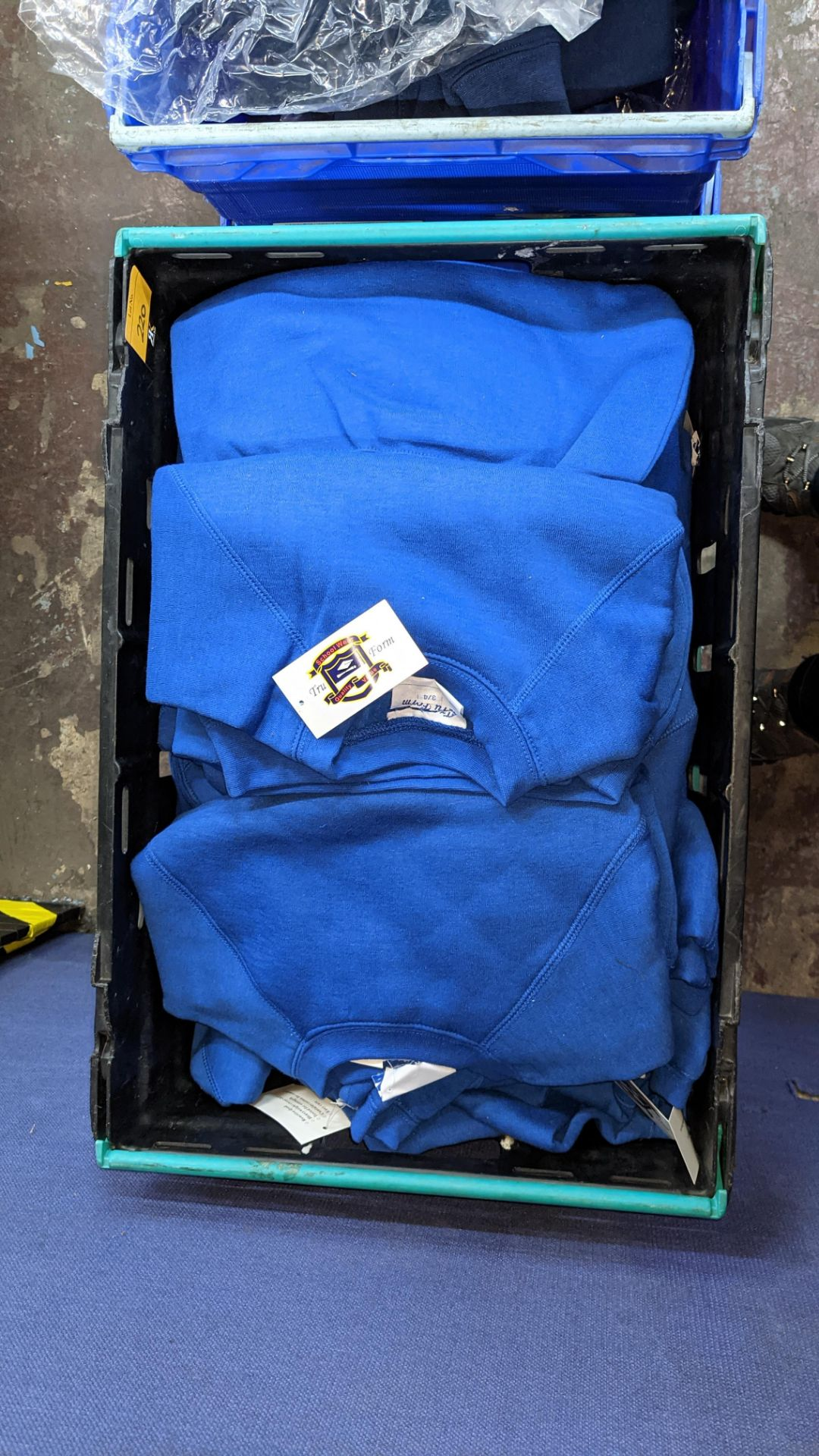 Approx 58 off children's blue sweatshirts - the contents of 3 crates. NB crates excluded - Image 6 of 6