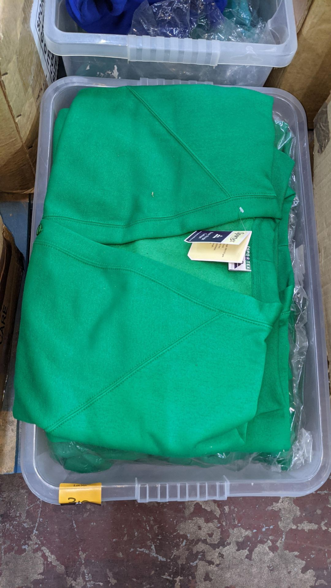 The contents of 2 crates of green & blue button up children's sweat tops & similar. NB crates exclu - Image 3 of 5