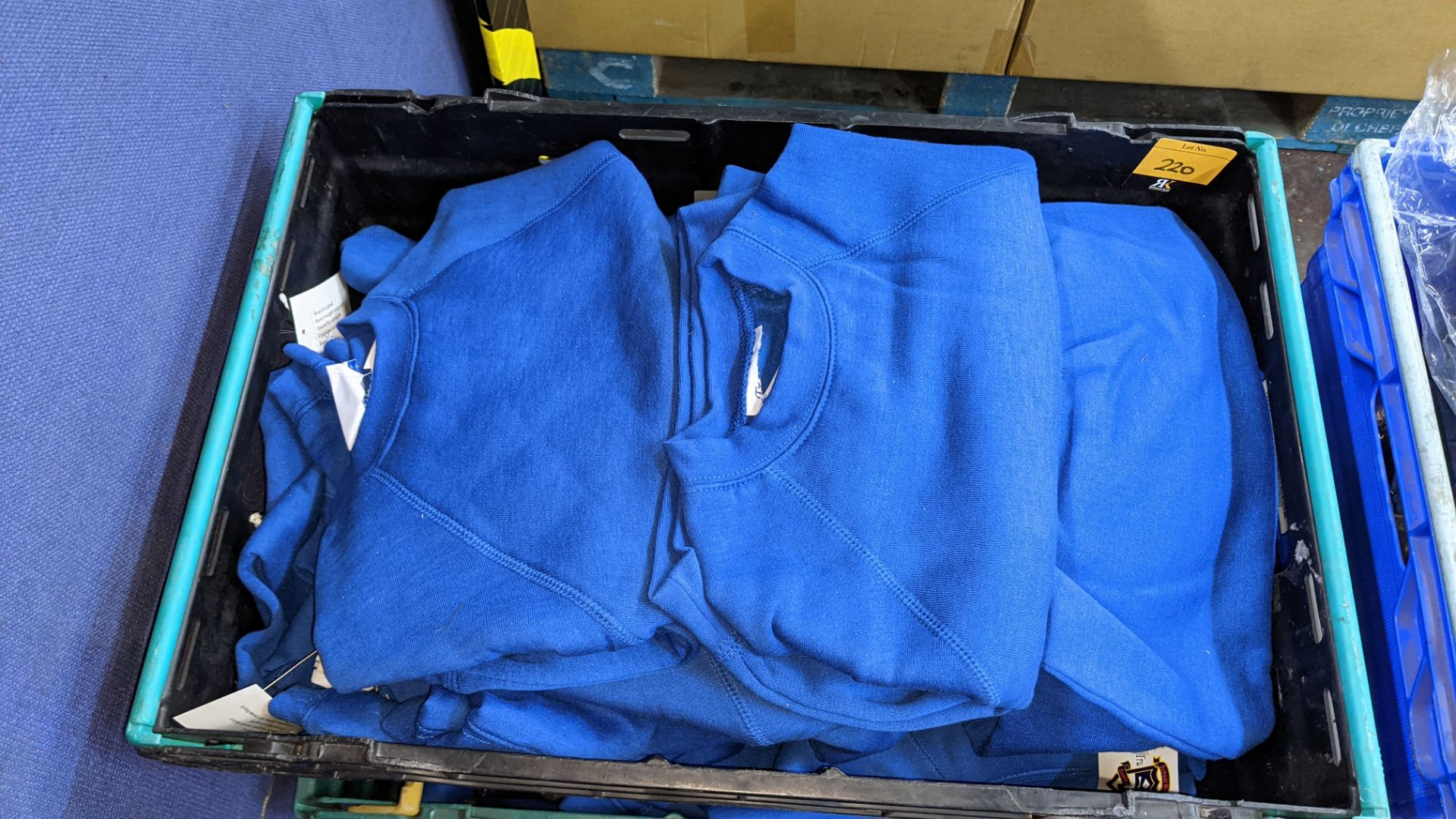 Approx 58 off children's blue sweatshirts - the contents of 3 crates. NB crates excluded - Image 3 of 6