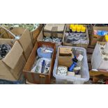4 boxes/crates of assorted textile machinery related spares, cleaning solutions, lubricants & more