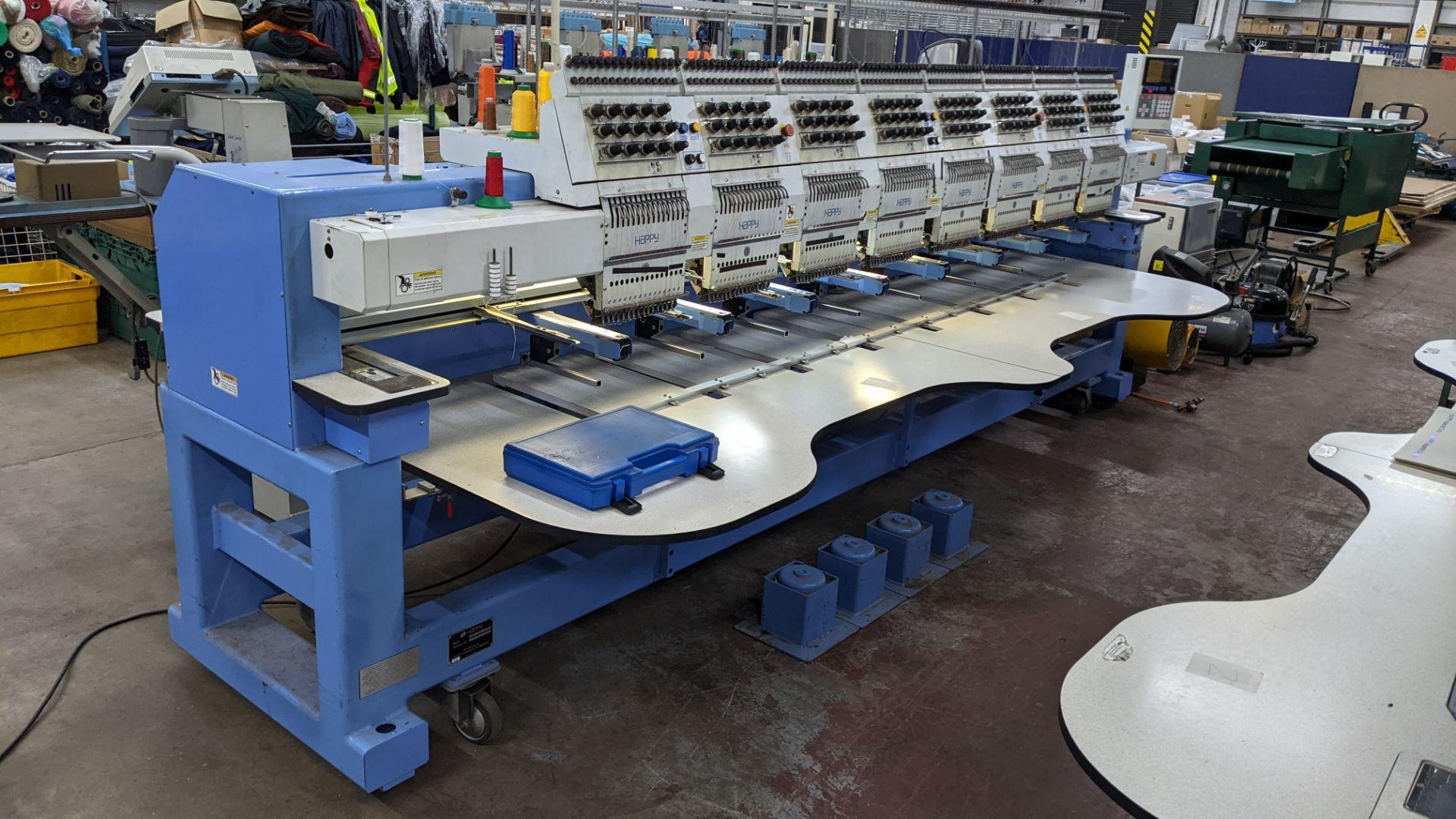 Happy 8 head embroidery machine, model HCG-1508B-45TTC, 15 needles per head, including frames & othe - Image 2 of 32