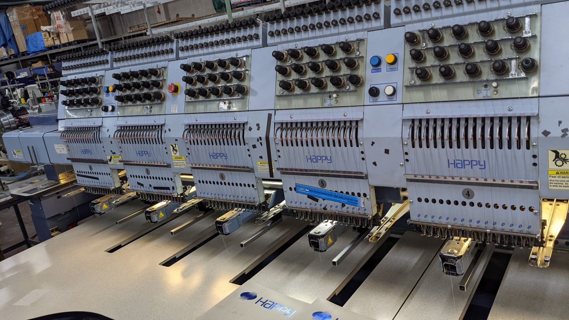 Happy 8 head embroidery machine, model HCG-1508-45TTC, 15 needles per head, including frames & other - Image 7 of 27