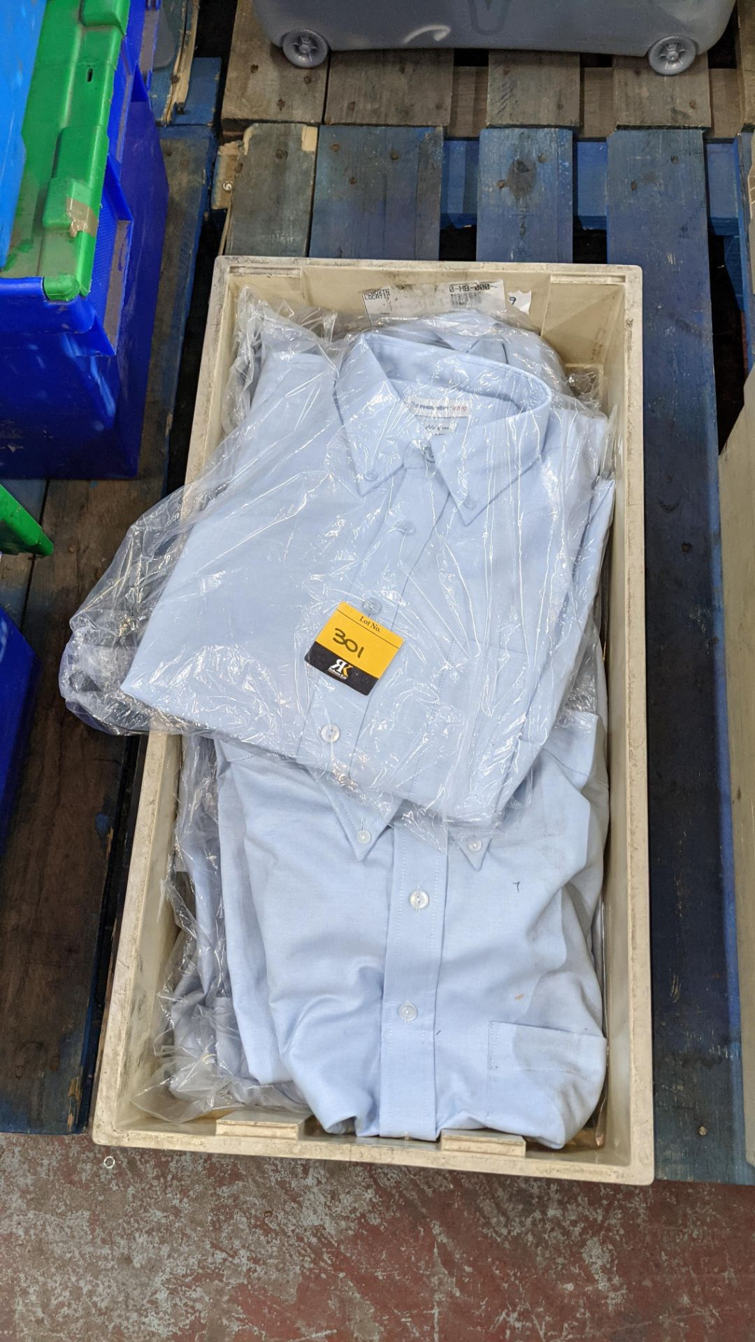 Approx 54 off blue shirts in assorted styles - the contents of 4 crates. NB crates excluded - Image 3 of 6