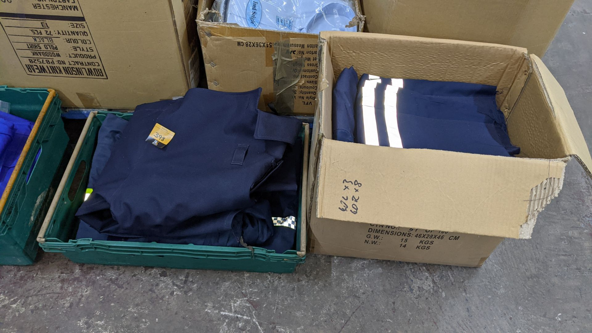 Quantity of emergency services type workwear comprising the contents of 1 box & 1 crate