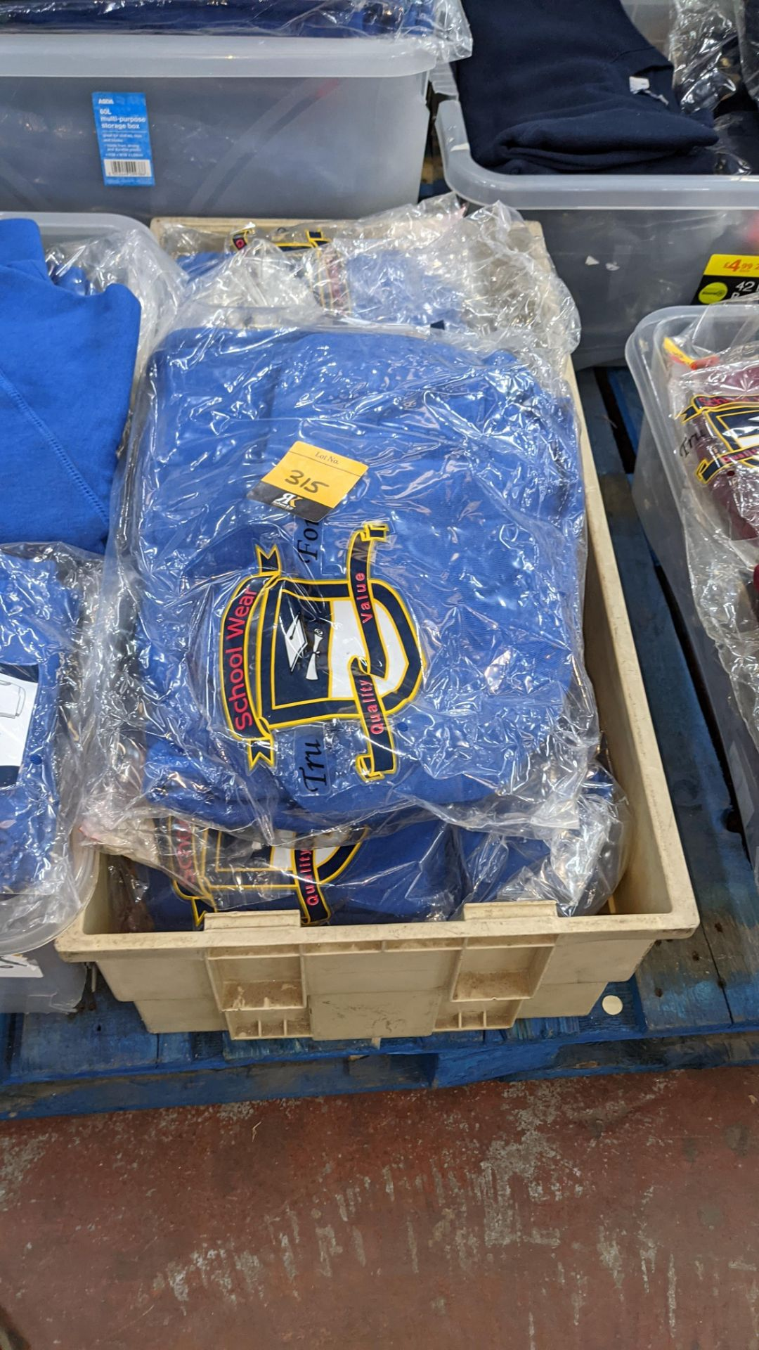 Approx 17 off blue children's sweatshirts & similar - the contents of 1 crate. NB crate excluded