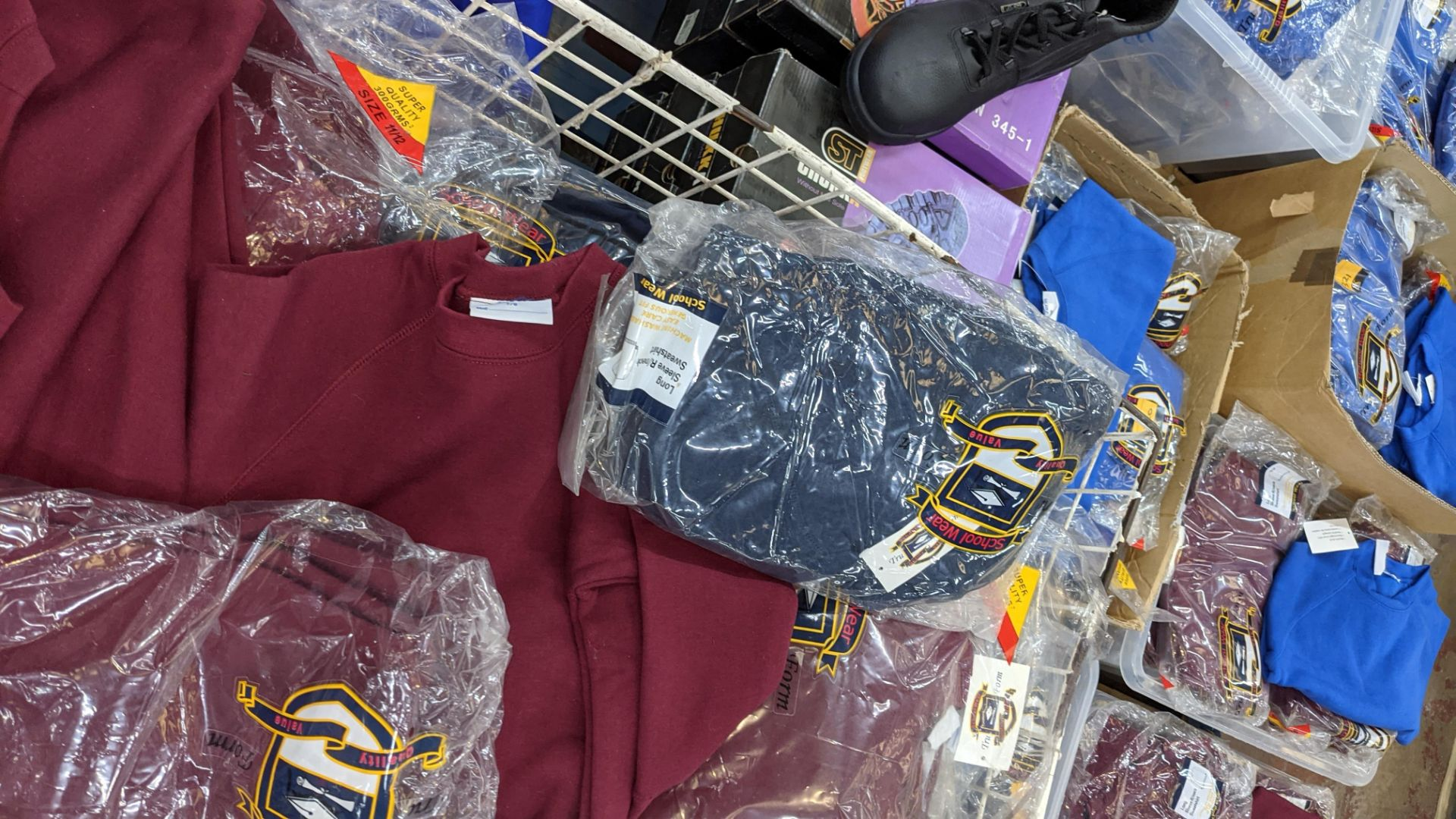 Large quantity of children's burgundy sweatshirts - the contents of 1 large cage. NB cage excluded - Image 6 of 6