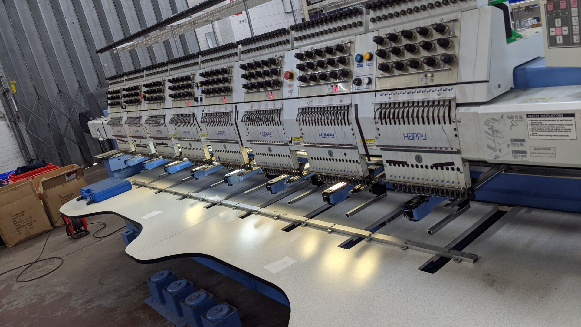 Happy 8 head embroidery machine, model HCG-1508B-45TTC, 15 needles per head, including frames & othe - Image 12 of 32