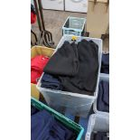 Approx 25 off children's black & blue tracksuit bottoms in assorted styles - the contents of 1 large