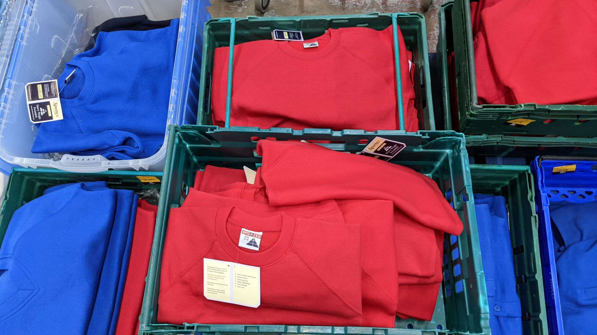 Approx 25 off Sportex children's assorted sweatshirts - the contents of 2 crates. NB crates exclude - Image 2 of 4