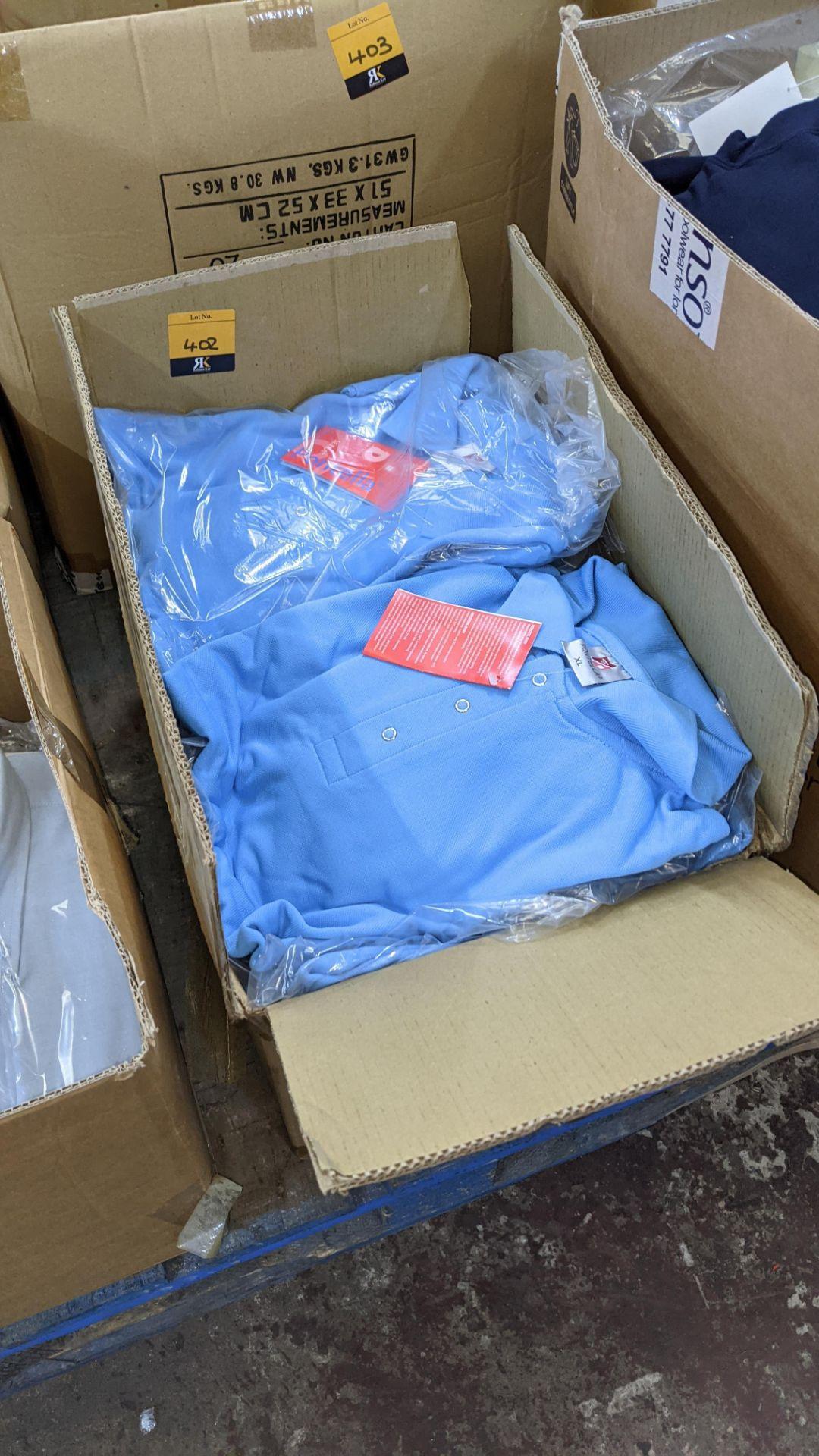 Approx 20 off Portland sky blue polo shirts