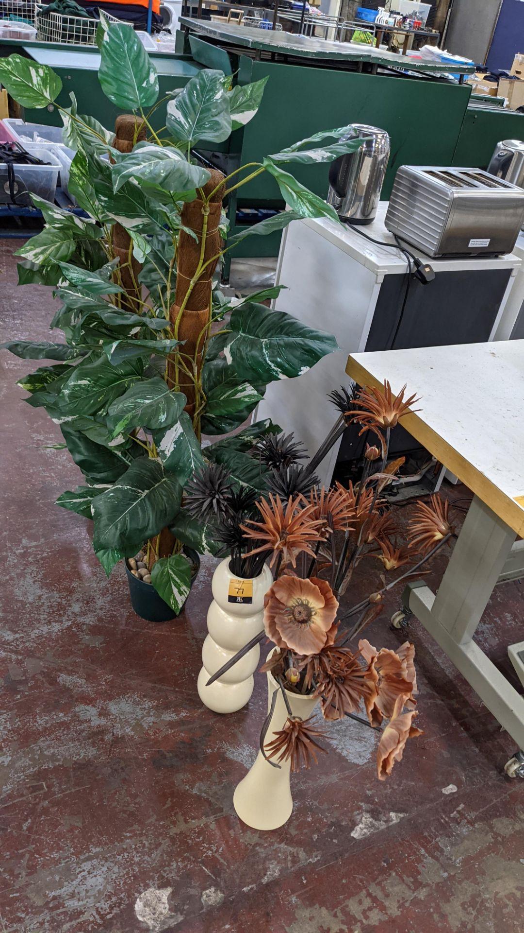 4 off artificial plant displays each including a pot