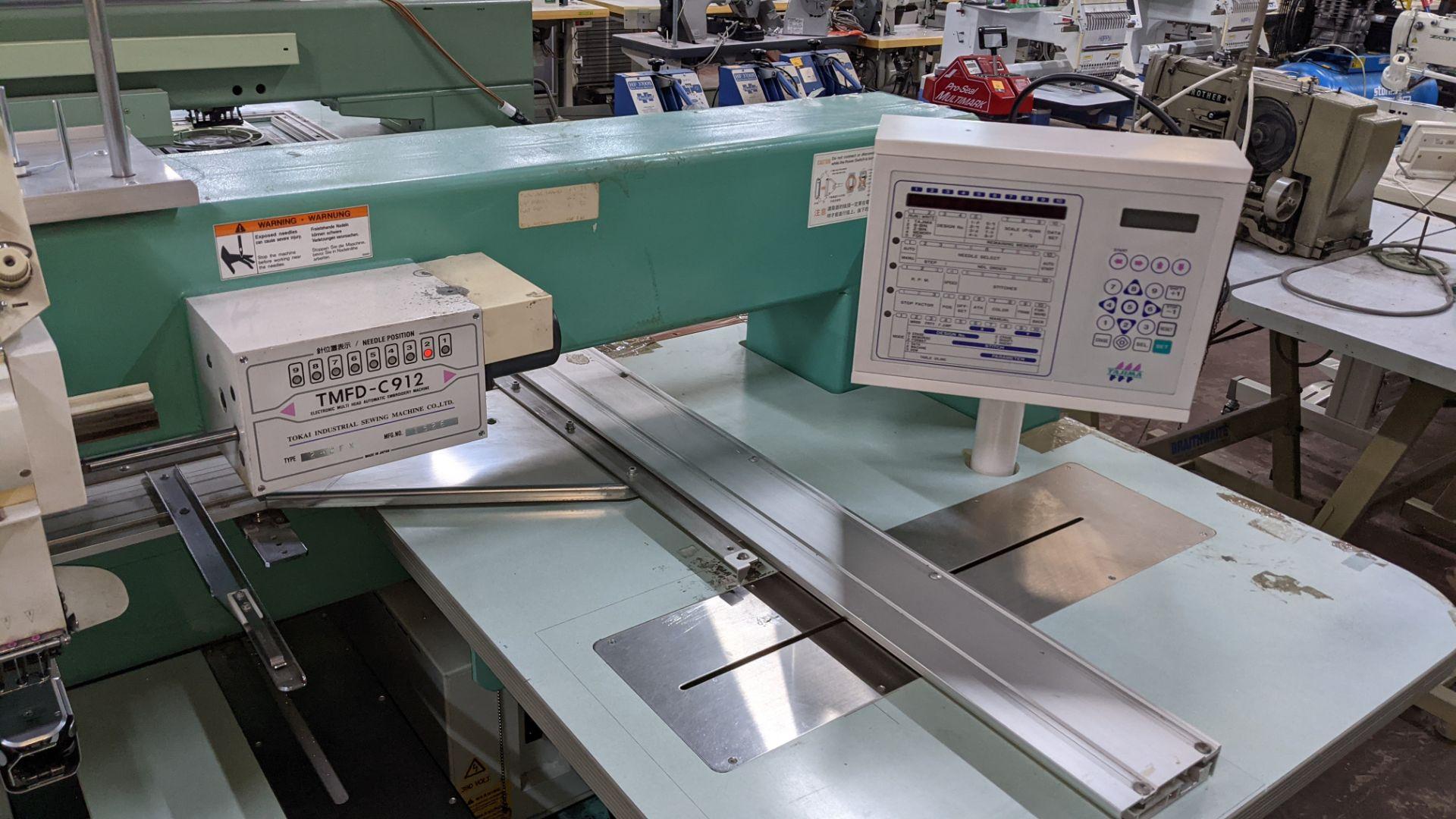 Tokai Tajima model TMFD-C912 electronic 12 head embroidery machine, type 2-2FX - Image 9 of 27