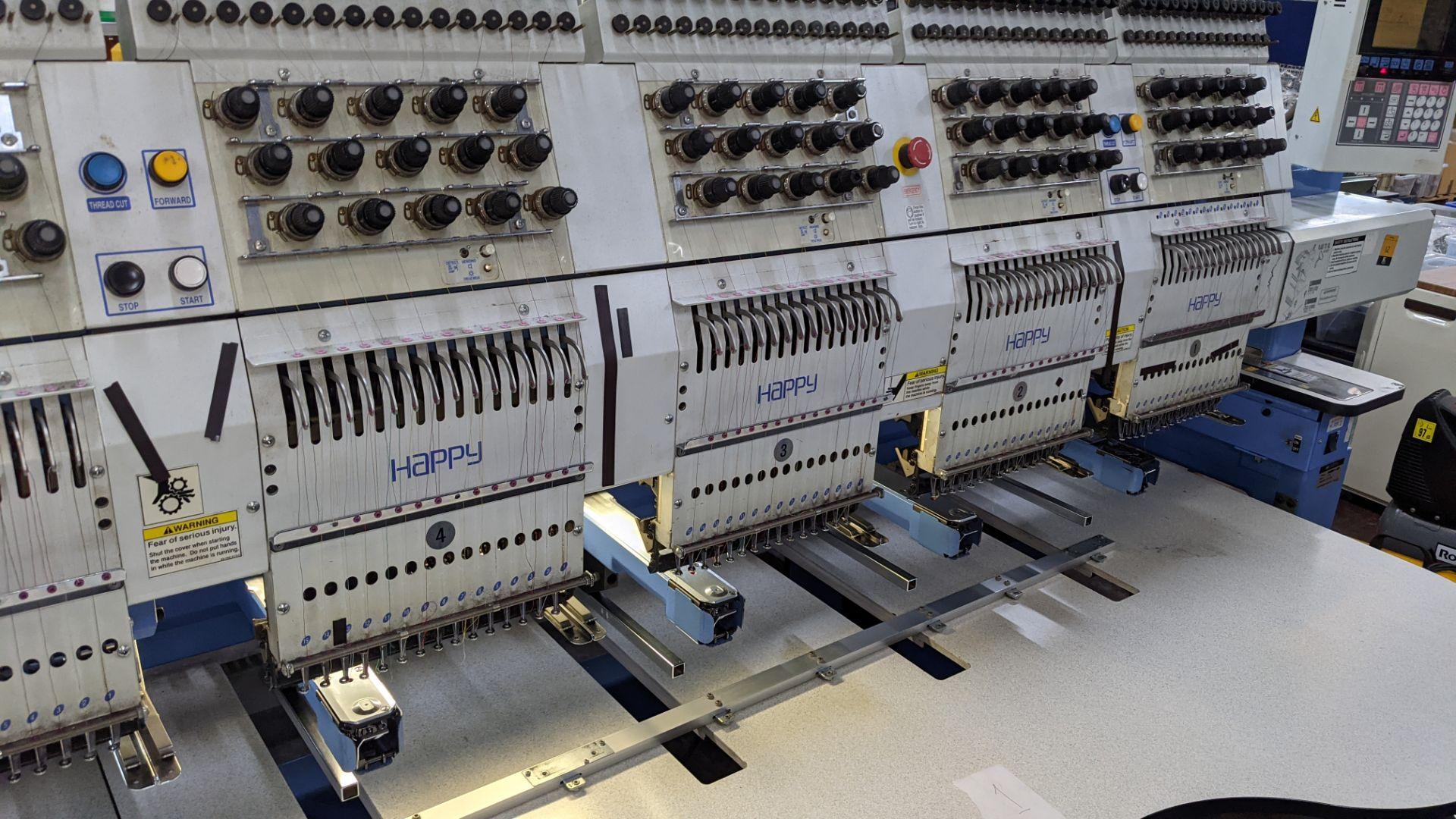 Happy 8 head embroidery machine, model HCG-1508B-45TTC, 15 needles per head, including frames & othe - Image 9 of 32