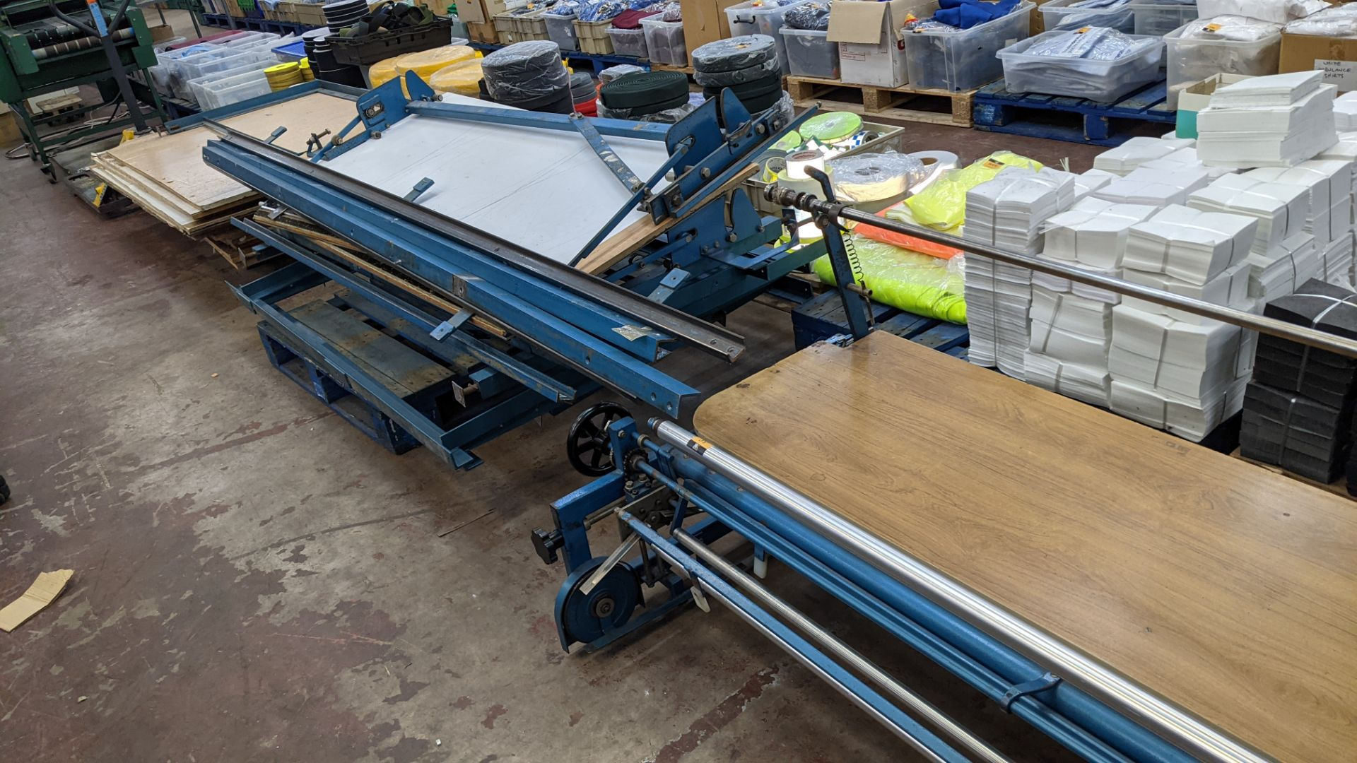 Large cutting table, as shown in 3 stacks. Please note photos taken in situ before the table was de - Image 10 of 16