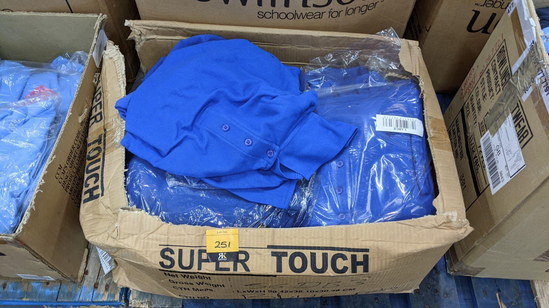 Quantity of royal blue polo shirts - 1 box
