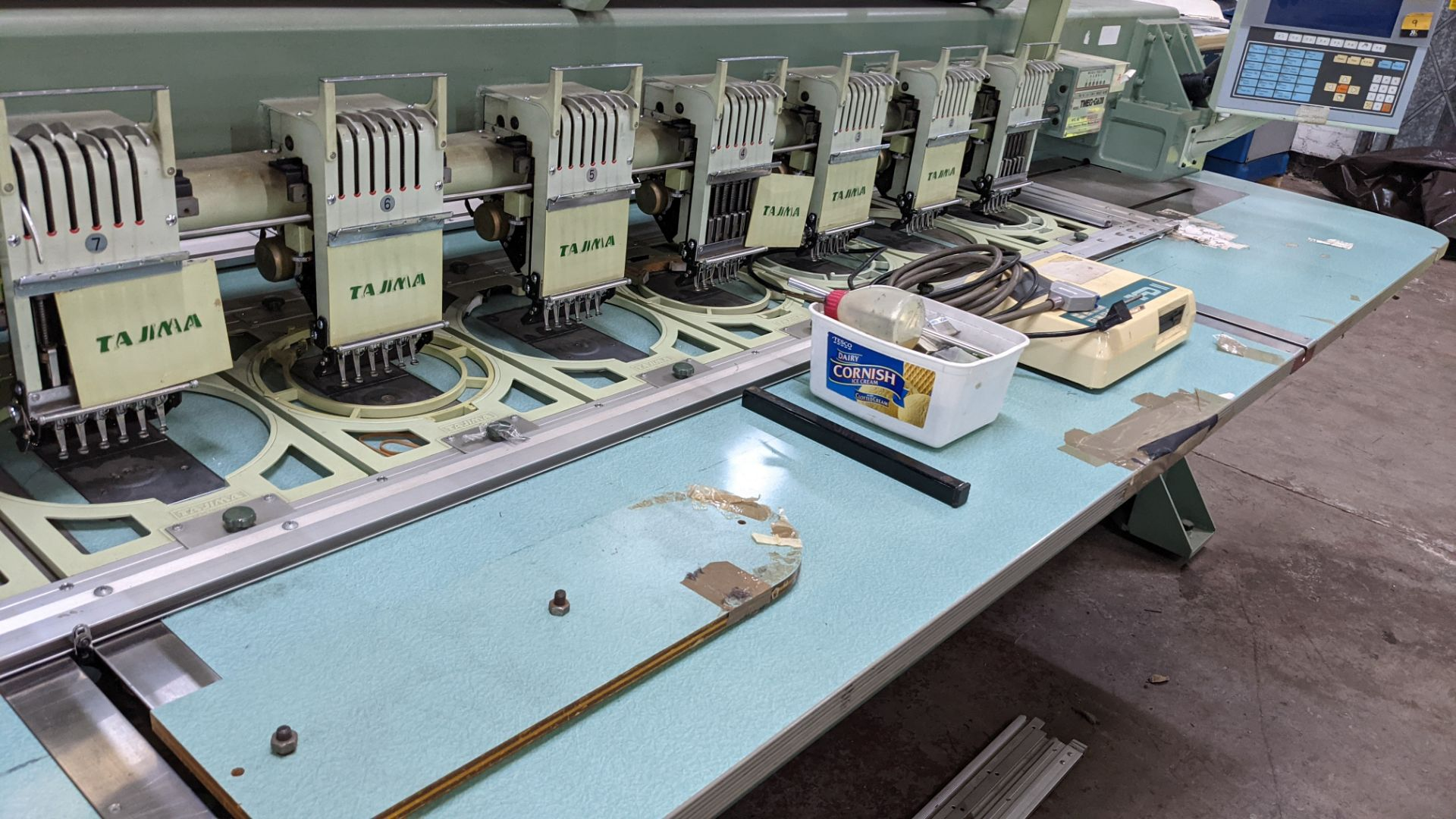 Tokai Tajima electronic 20 head automatic embroidery machine model TMEG-G620, manufacturing number 7 - Image 14 of 19