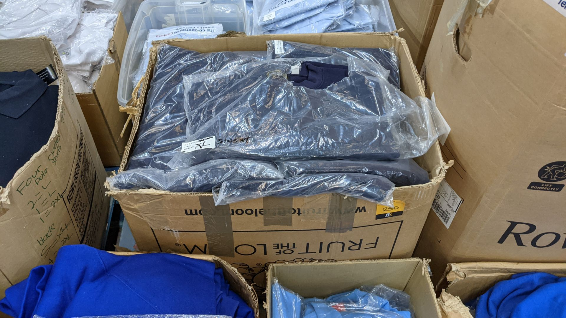 Approx 27 off blue sweatshirts - 1 large box