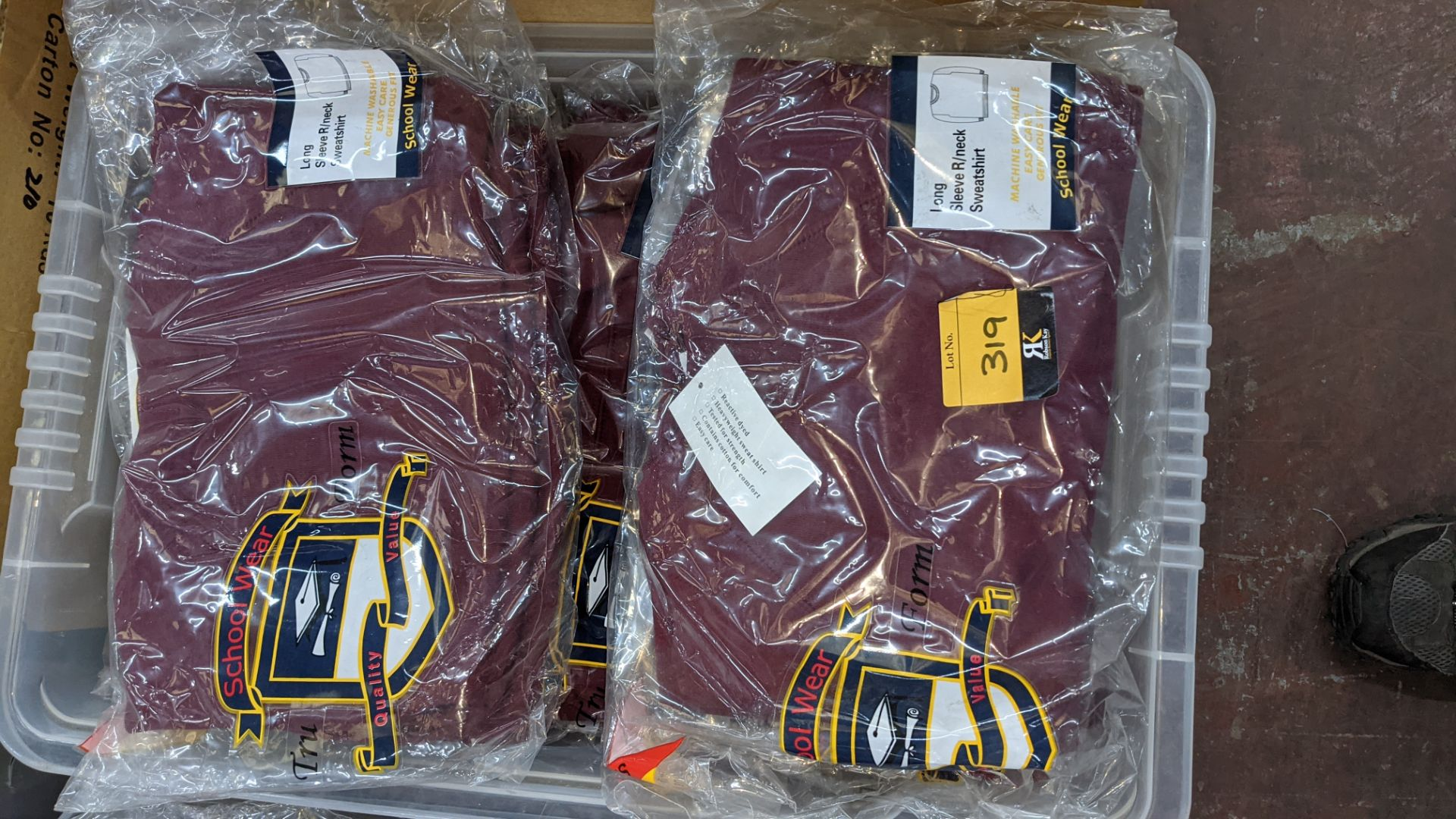 Approx 27 off burgundy children's sweatshirts & similar - the contents of 1 crate. NB crate exclude - Image 3 of 4