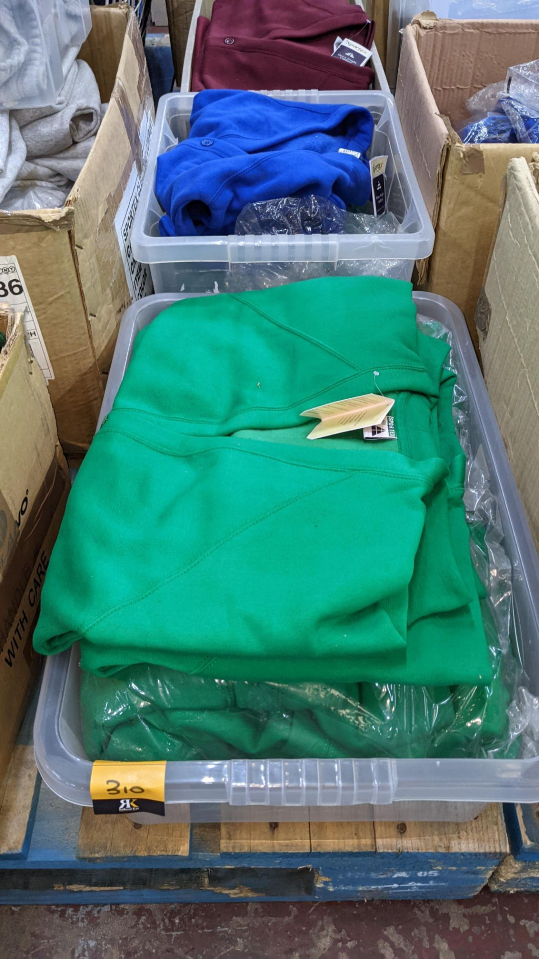 The contents of 2 crates of green & blue button up children's sweat tops & similar. NB crates exclu - Image 2 of 5
