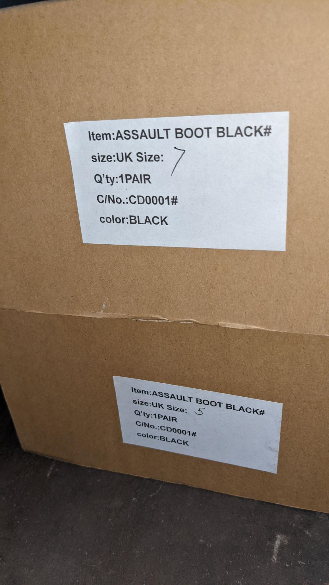 2 pairs of UK black assault boots (sizes 5 & 7) - Image 2 of 4