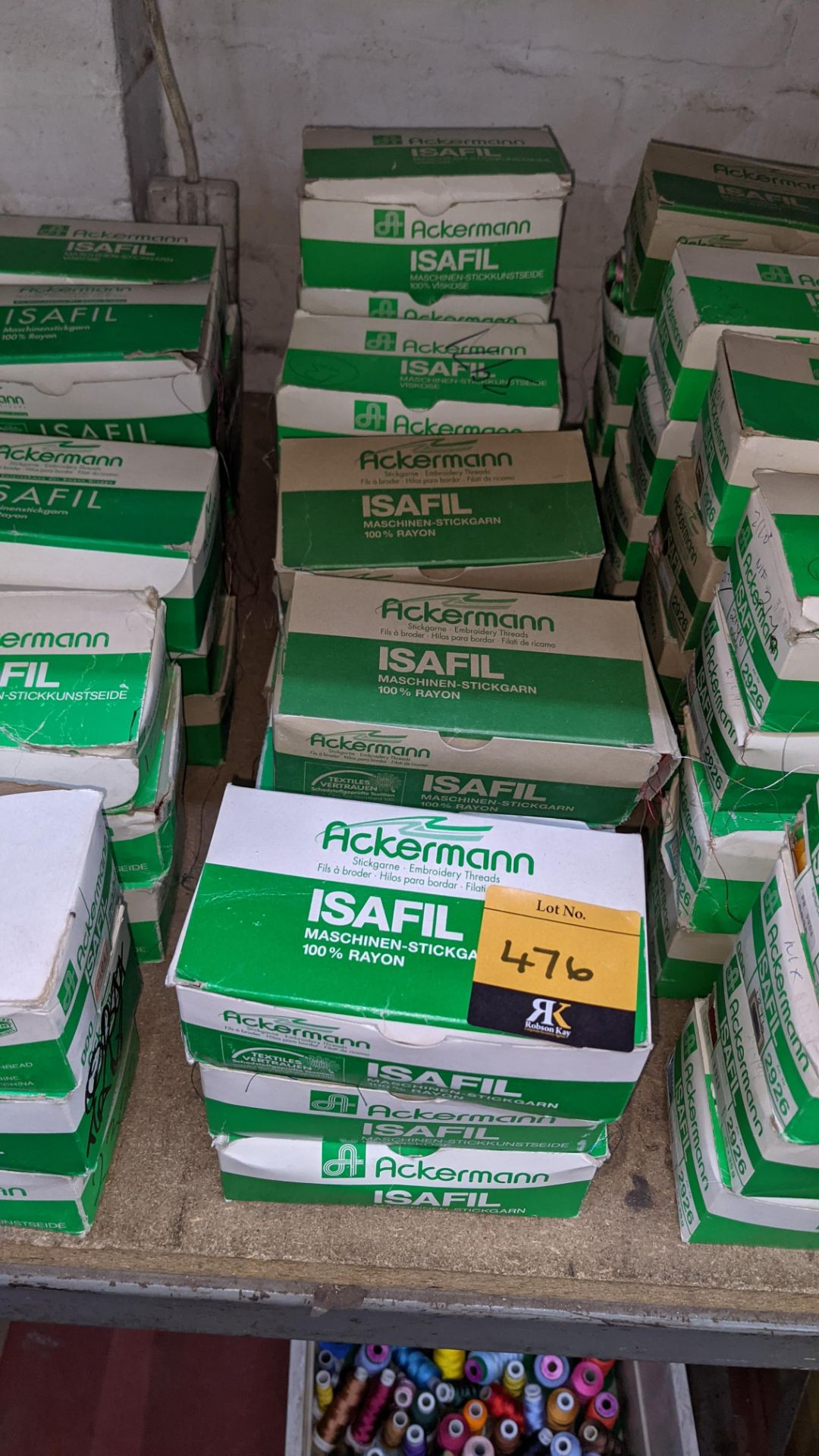 16 boxes of Ackermann Isafil viscose/rayon embroidery thread