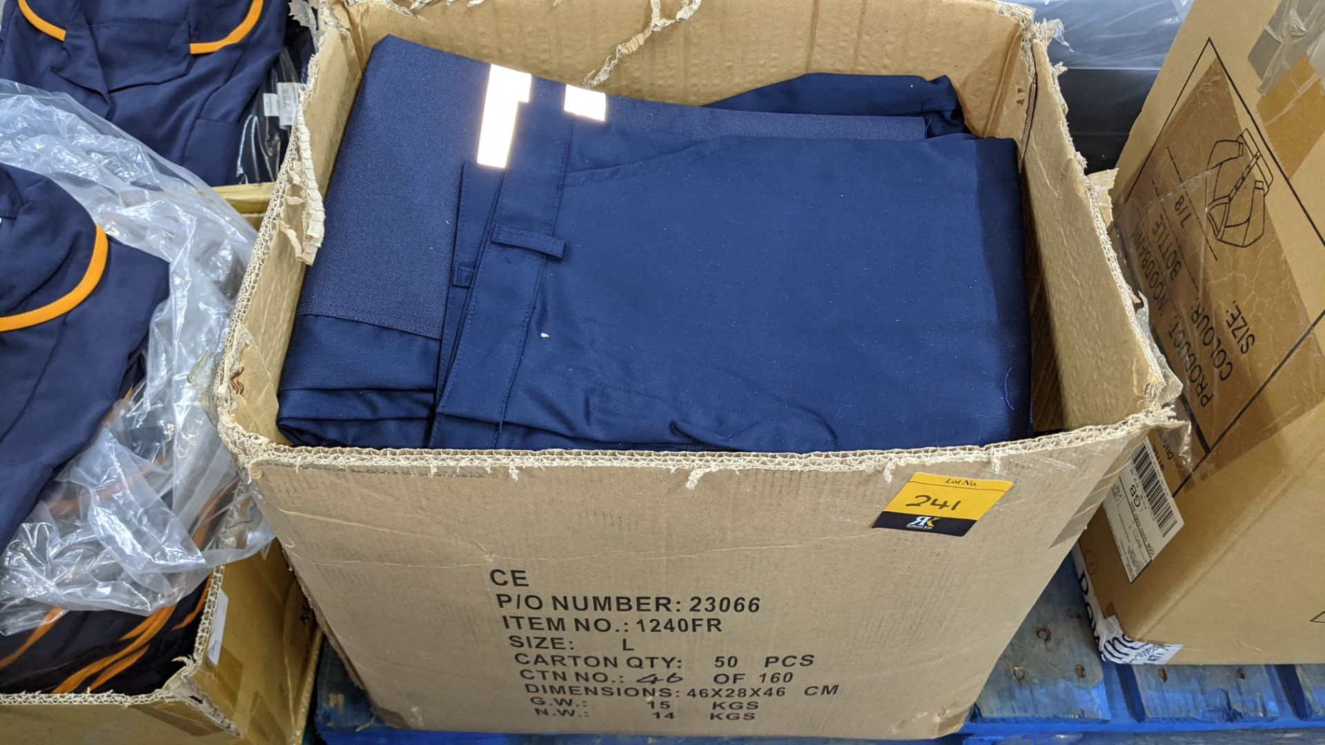 Box of blue work trousers with silver stripes - Image 2 of 5
