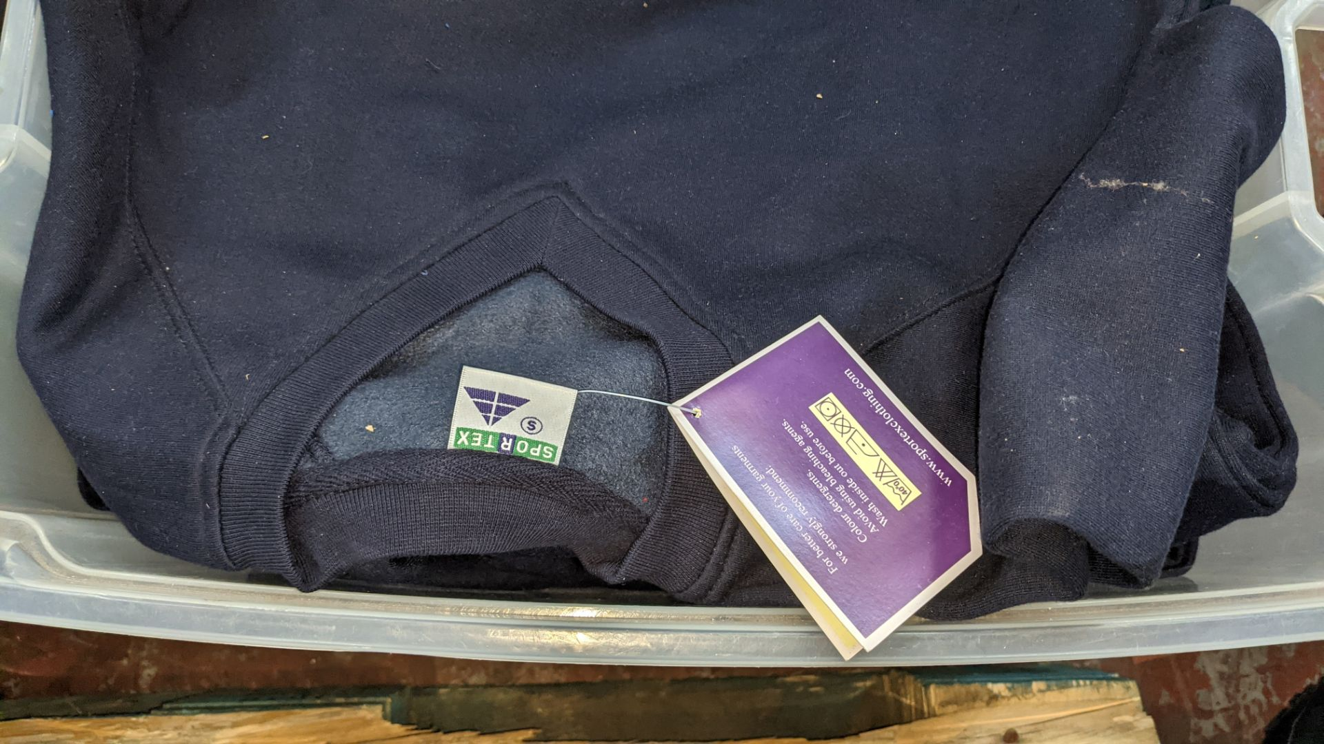Approx 6 off navy V neck sweatshirts - the contents of 1 crate. NB crate excluded - Image 4 of 5