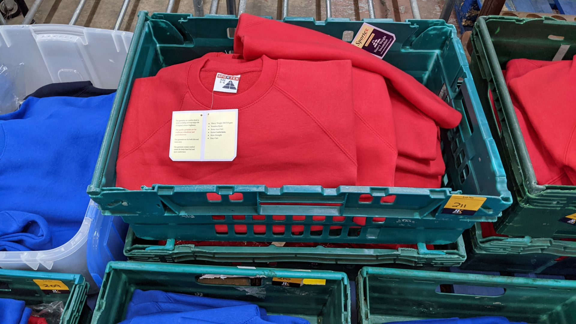 Approx 25 off Sportex children's assorted sweatshirts - the contents of 2 crates. NB crates exclude